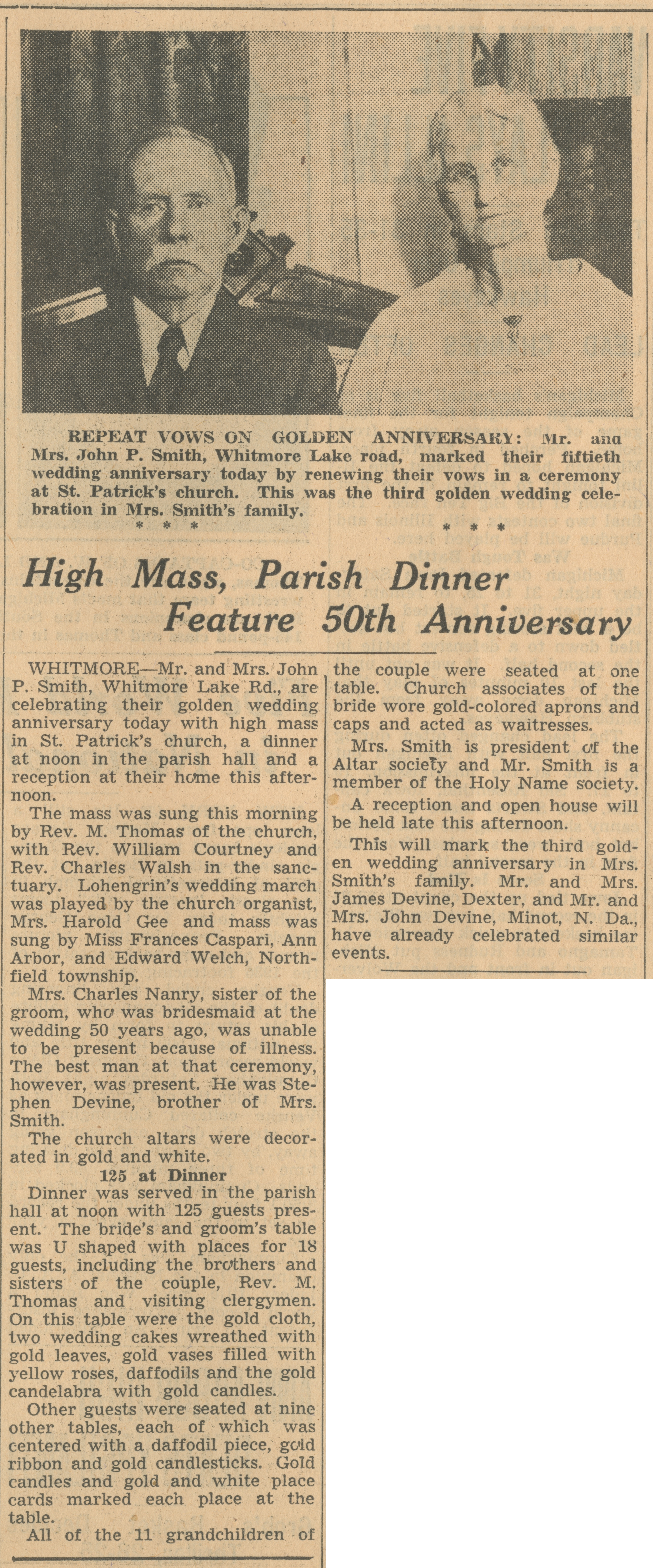 High Mass, Parish Dinner Feature 50th Anniversary image