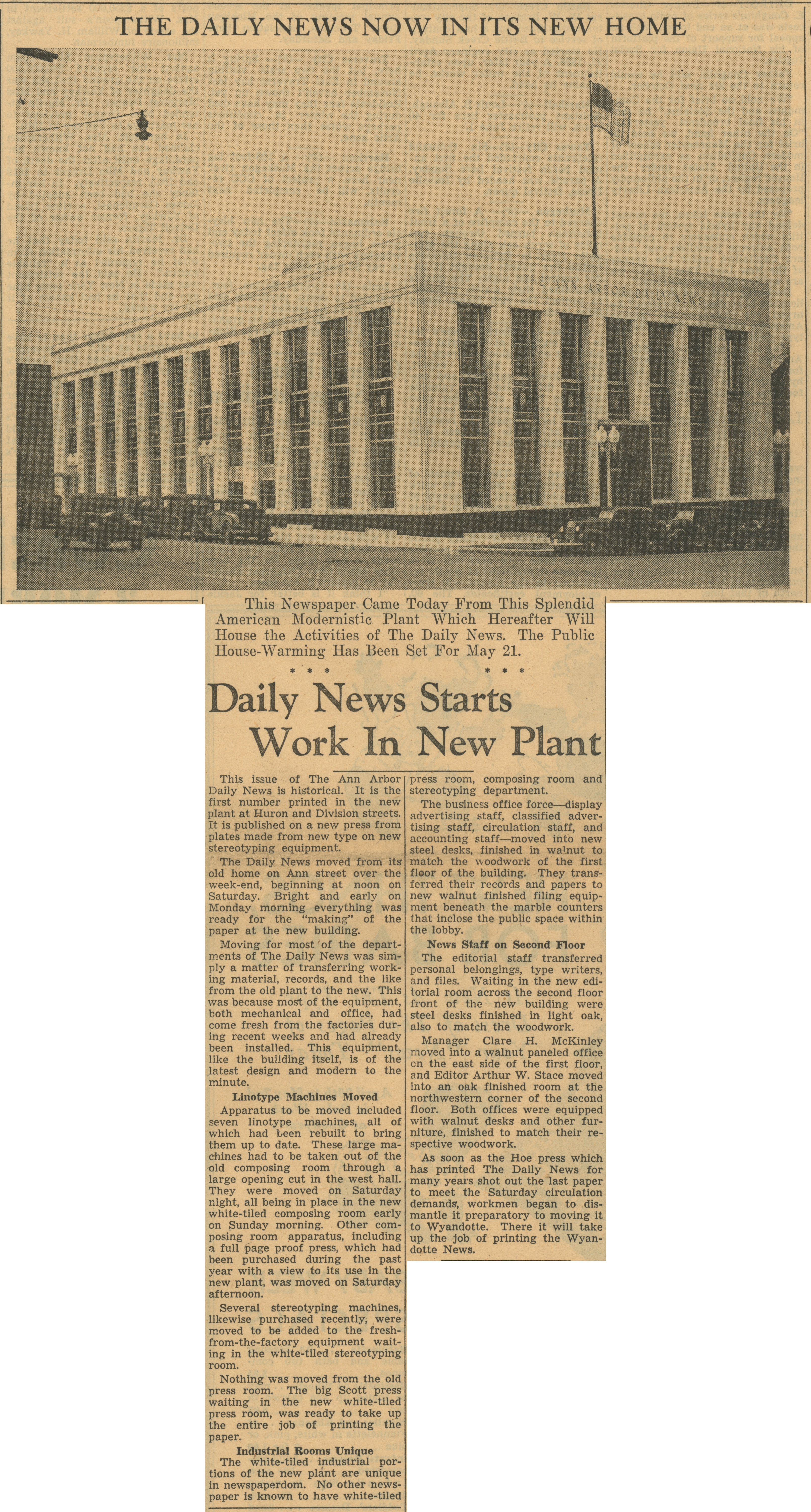 Daily News Now In Its New Home - Daily News Starts Work In New Plant image