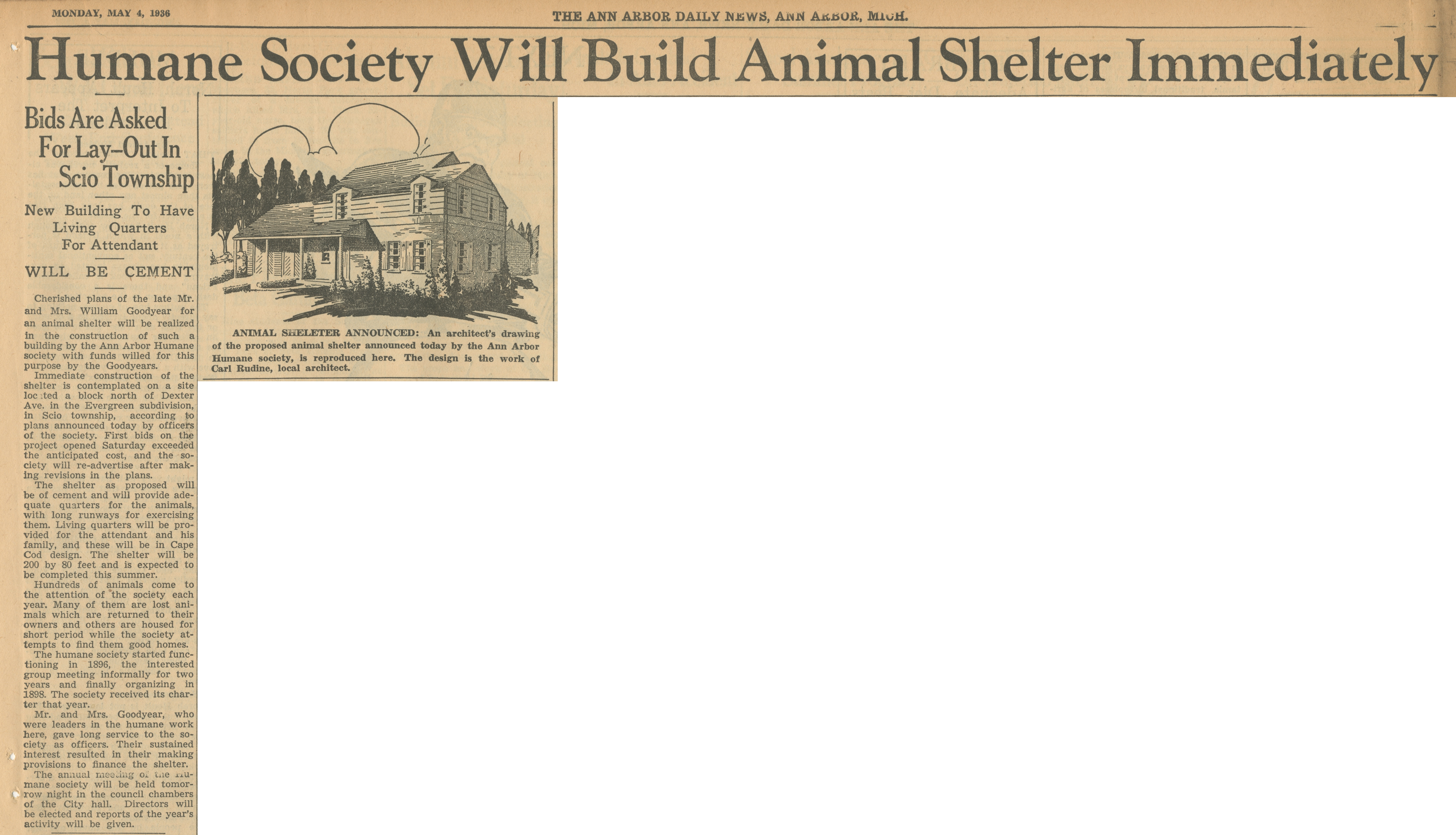 Humane Society Will Build Animal Shelter Immediately image