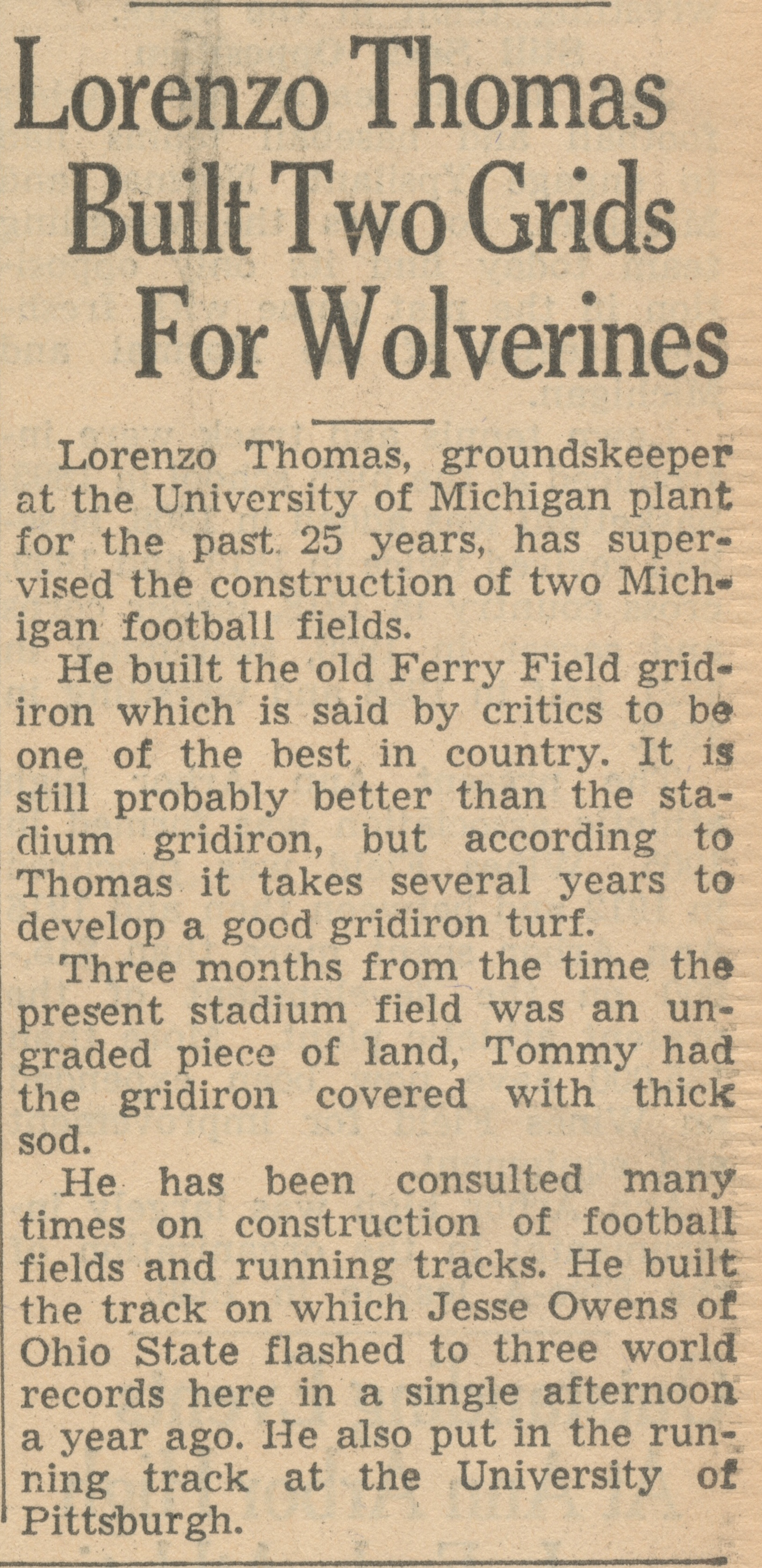 Lorenzo Thomas Built Two Grids For Wolverines image