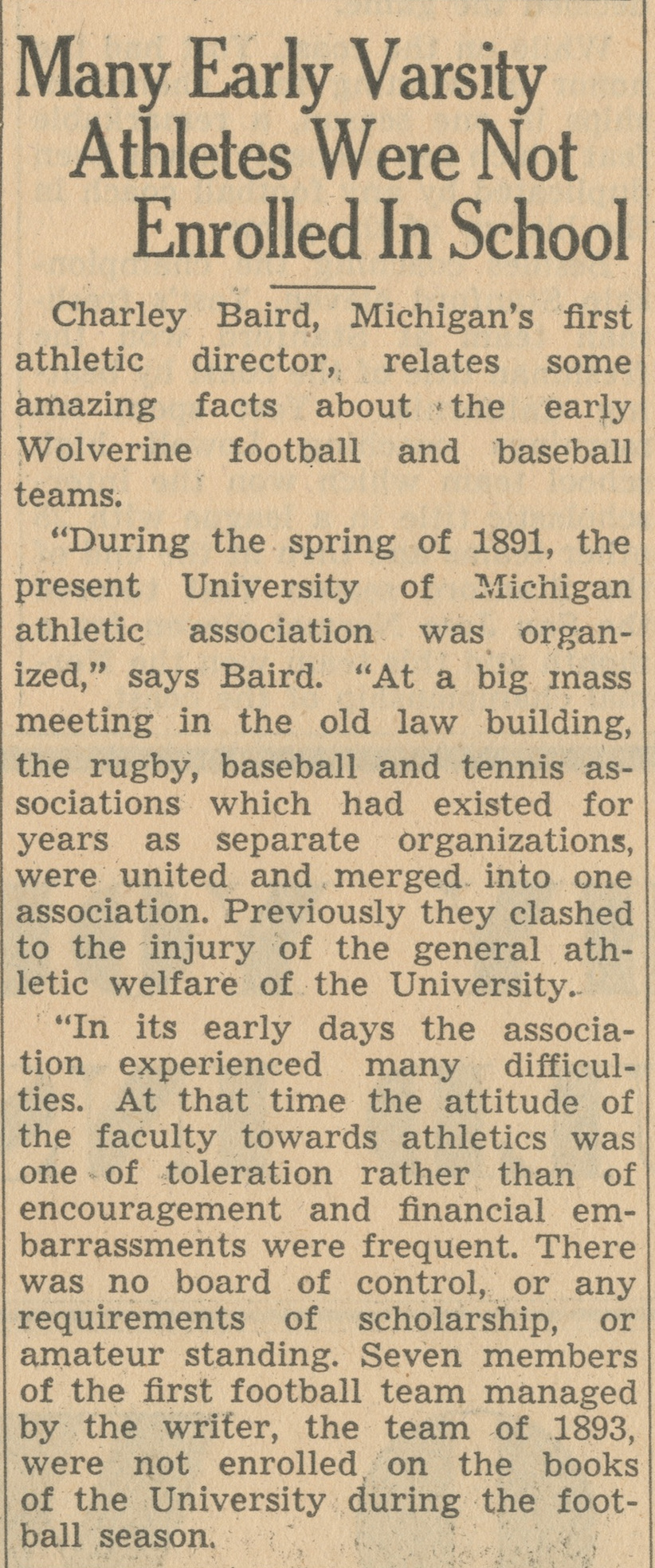 Many Early Varsity Athletes Were Not Enrolled In School image