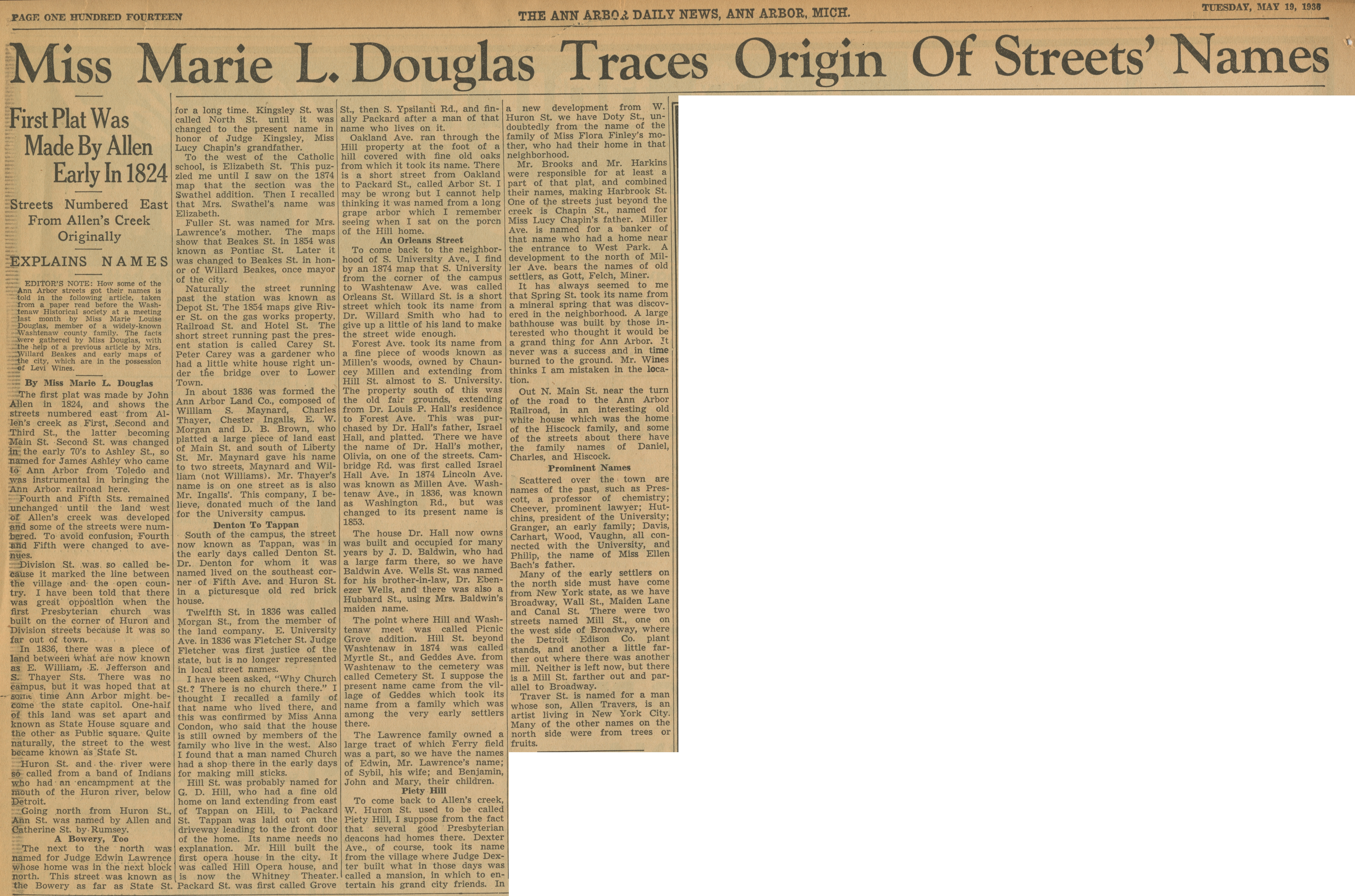 Miss Marie L. Douglas Traces Origin of Streets' Names - First Plat Was Made By Allen Early in 1824 - Streets Numbered East From Allen's Creek Originally image