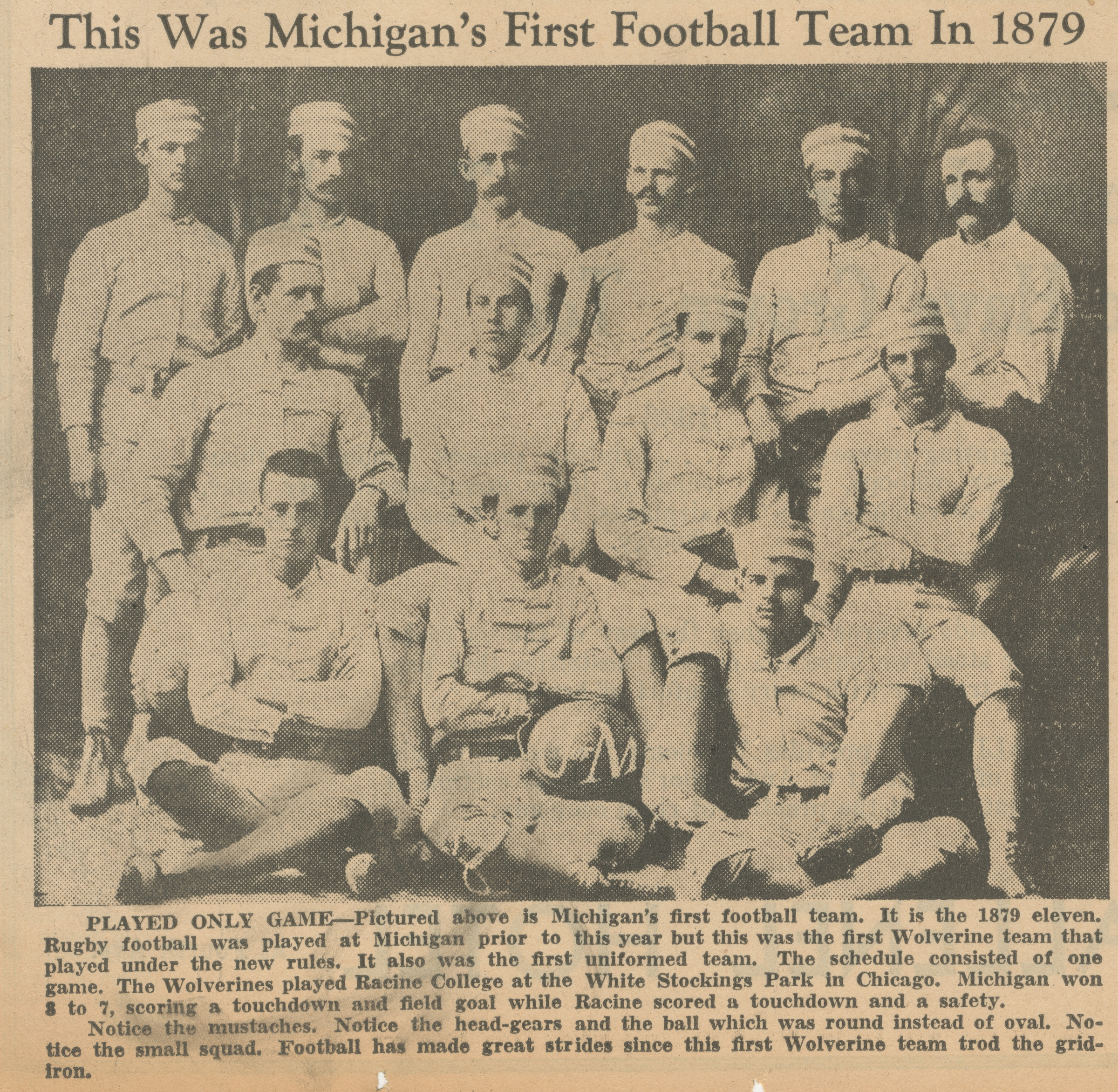 This Was Michigan's First Football Team In 1879 image