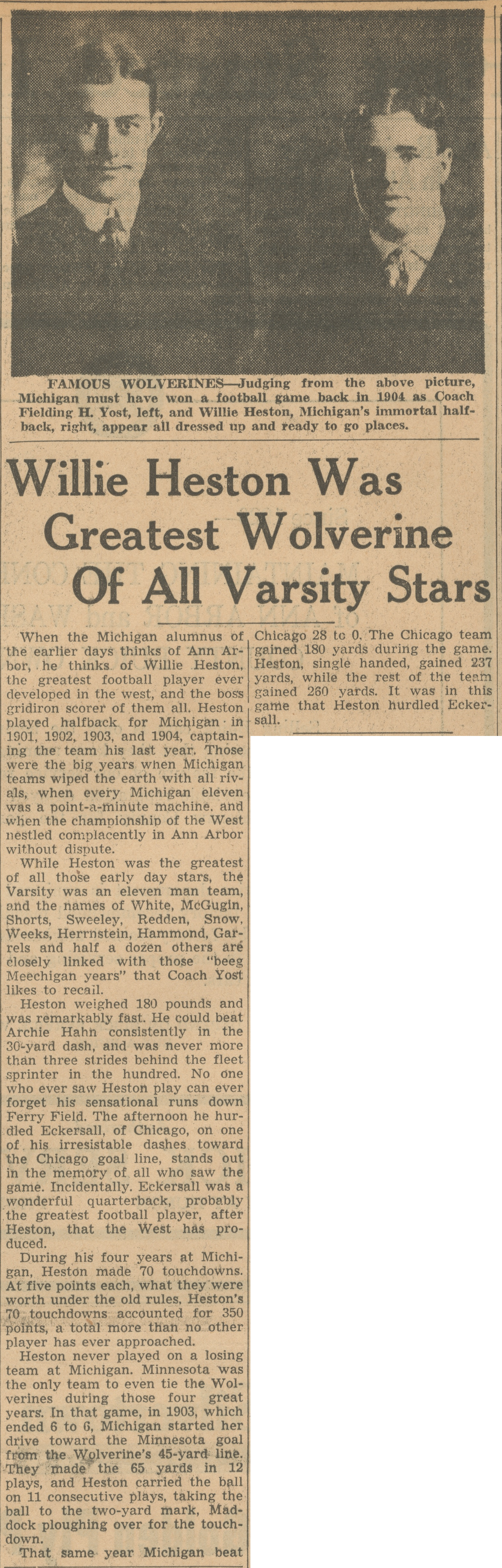 Willie Heston Was Greatest Wolverine Of All Varsity Stars image