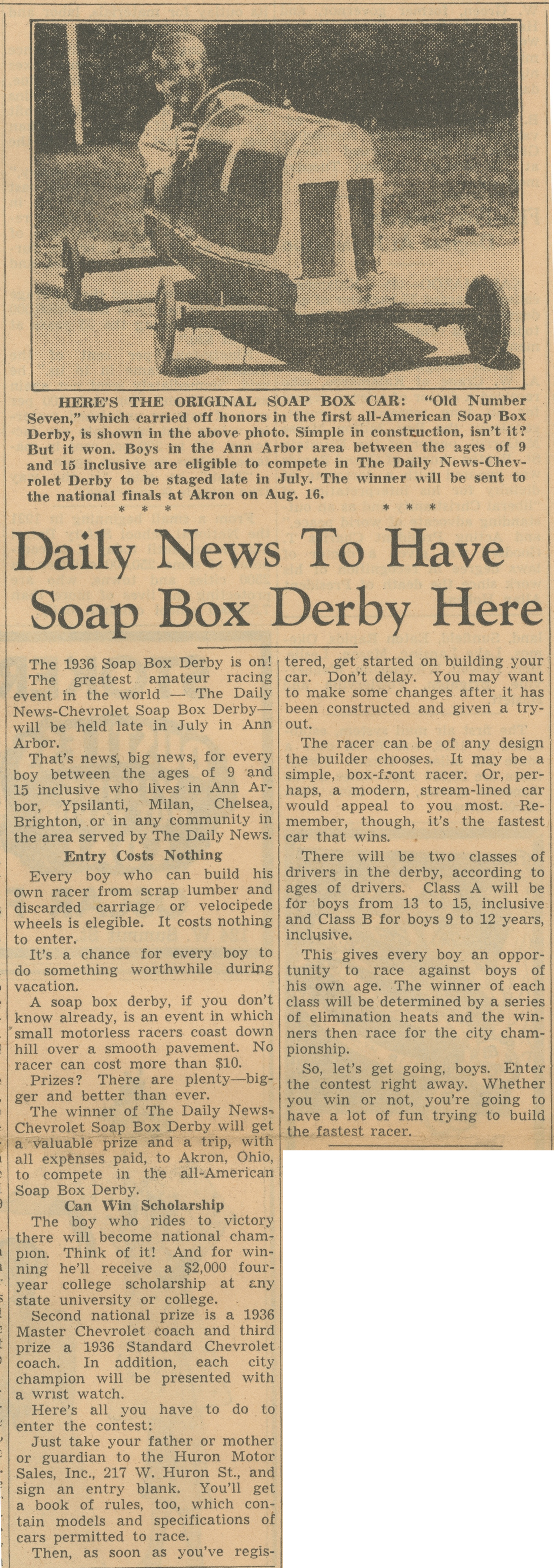 Daily News To Have Soap Box Derby Here image