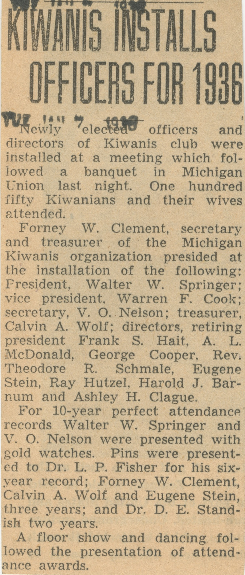 Kiwanis Installs Officers For 1936 image