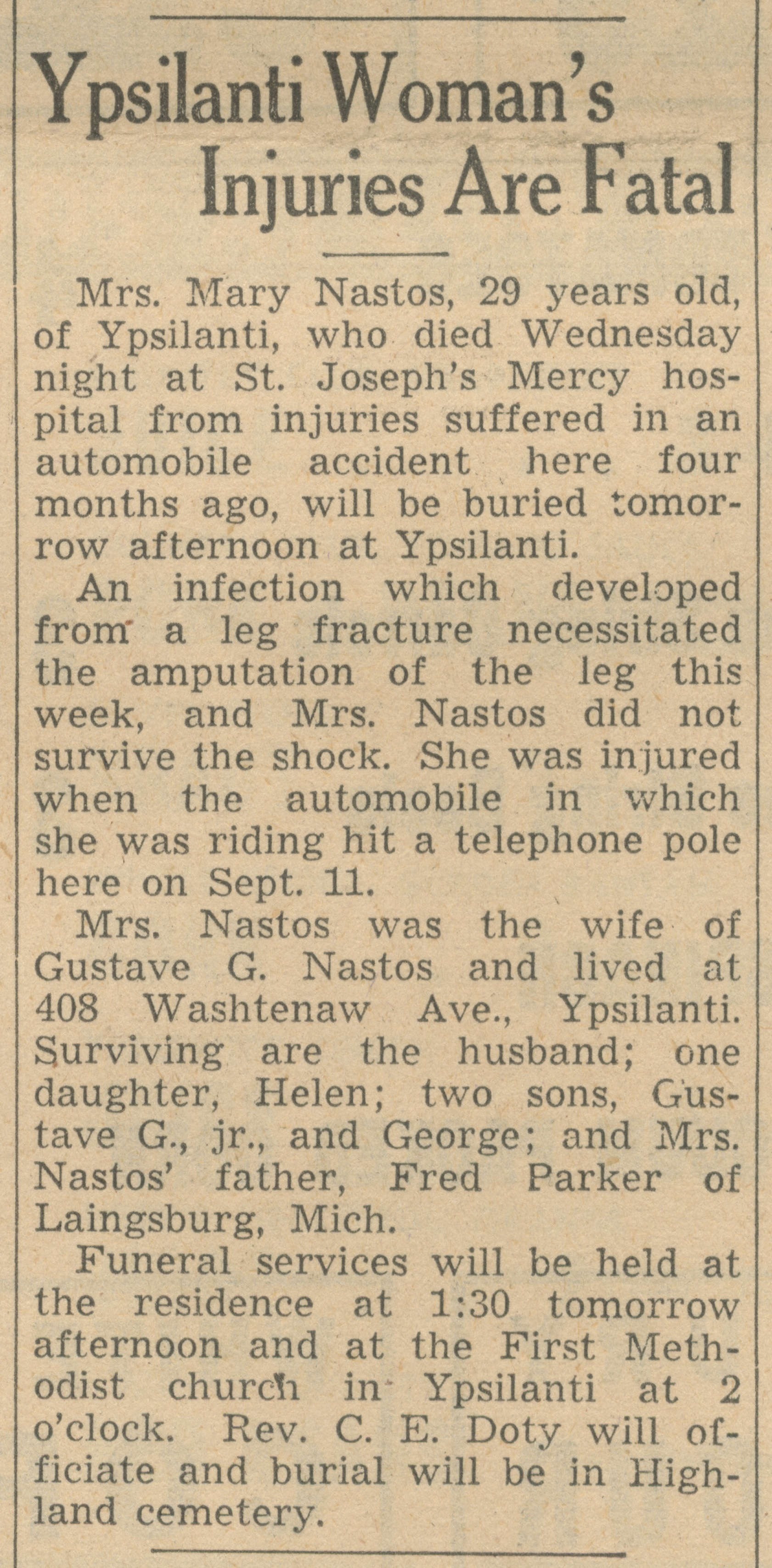 Ypsilanti Woman's Injuries Are Fatal image