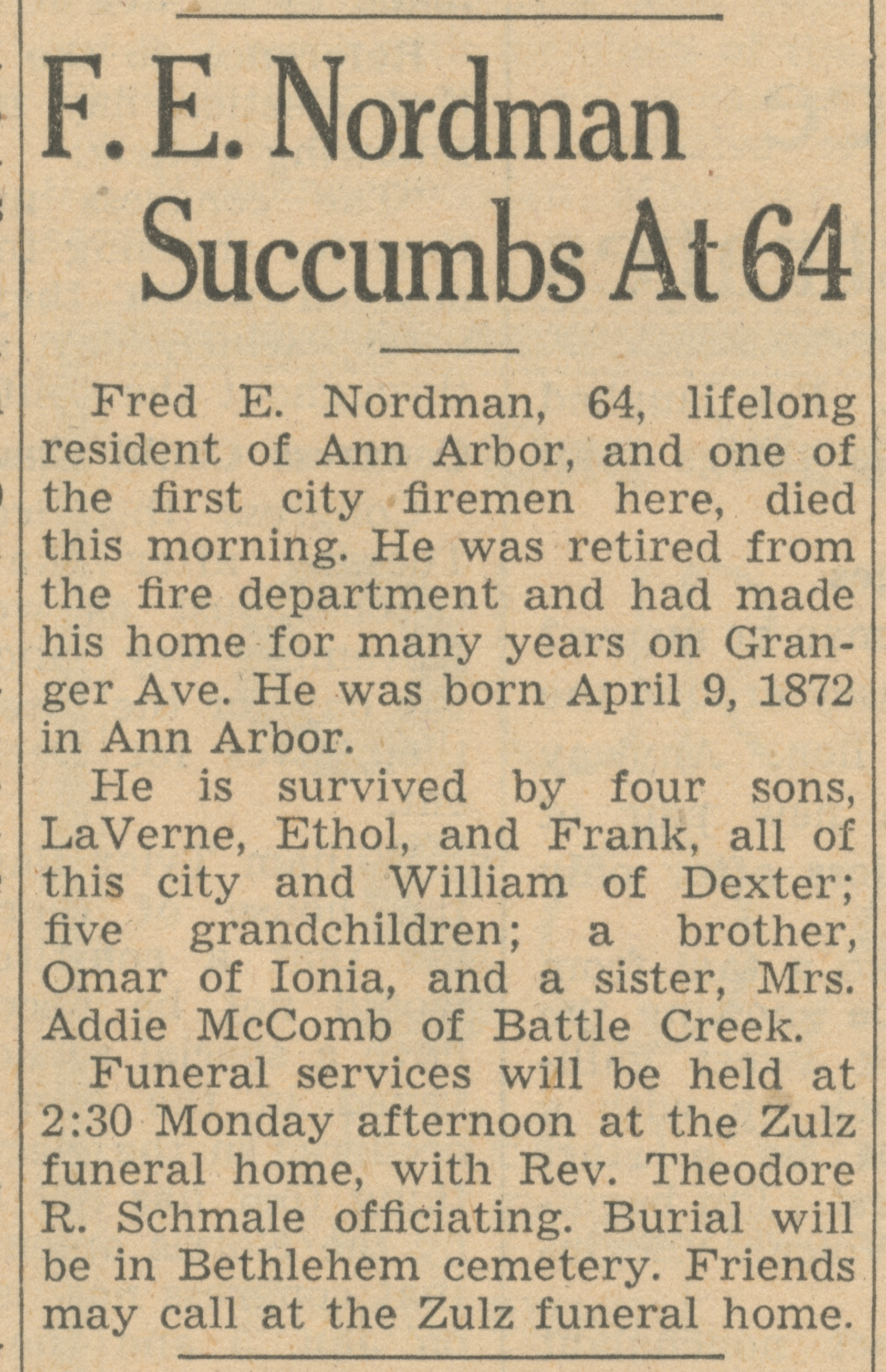 F. E. Nordman Succumbs At 64 image