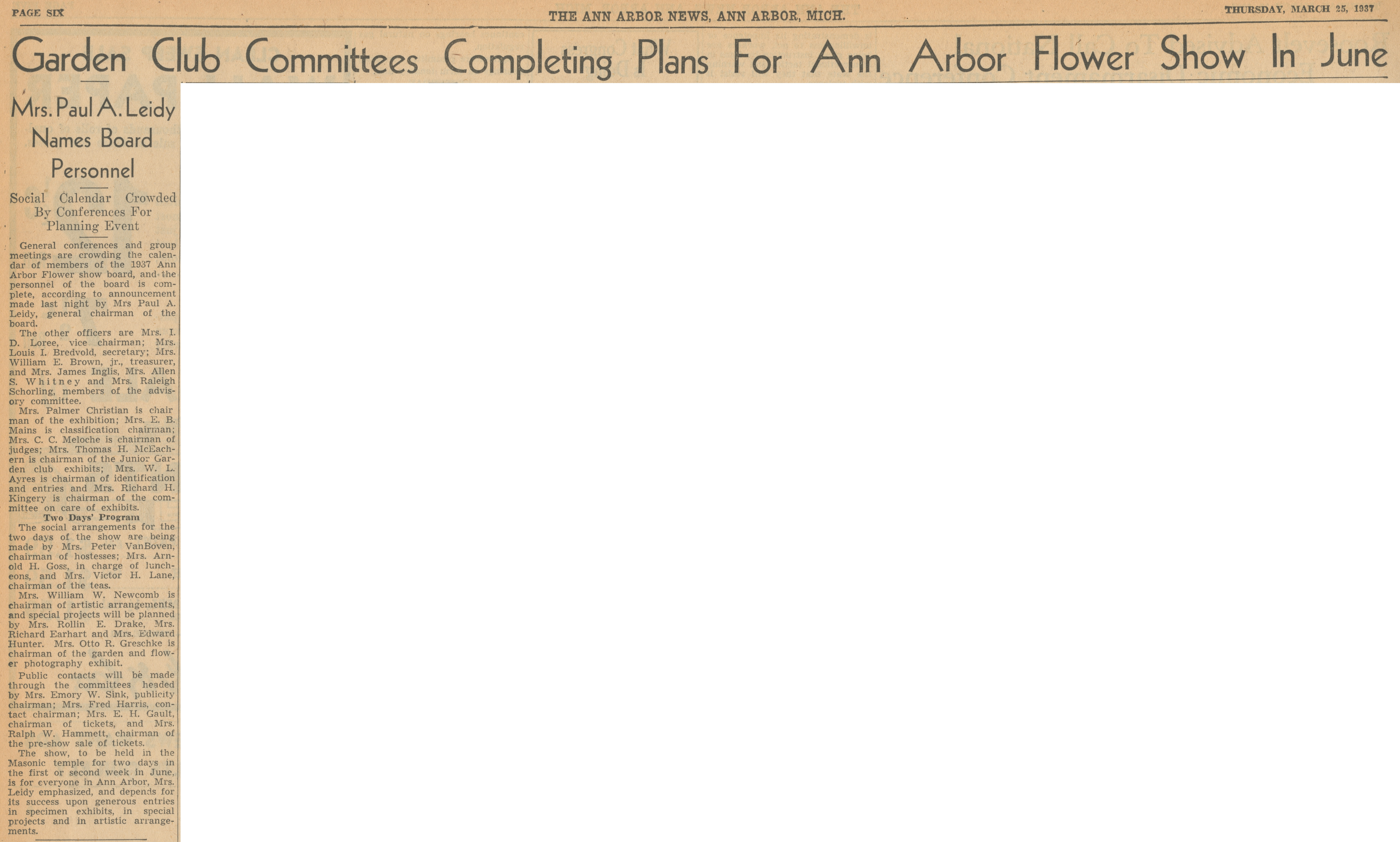 Garden Club Committees Completing Plans For Ann Arbor Flower Show In June - Mrs. Paul A. Leidy Names Board Personnel - Social Calendar Crowded By Conferences For Planning Event image