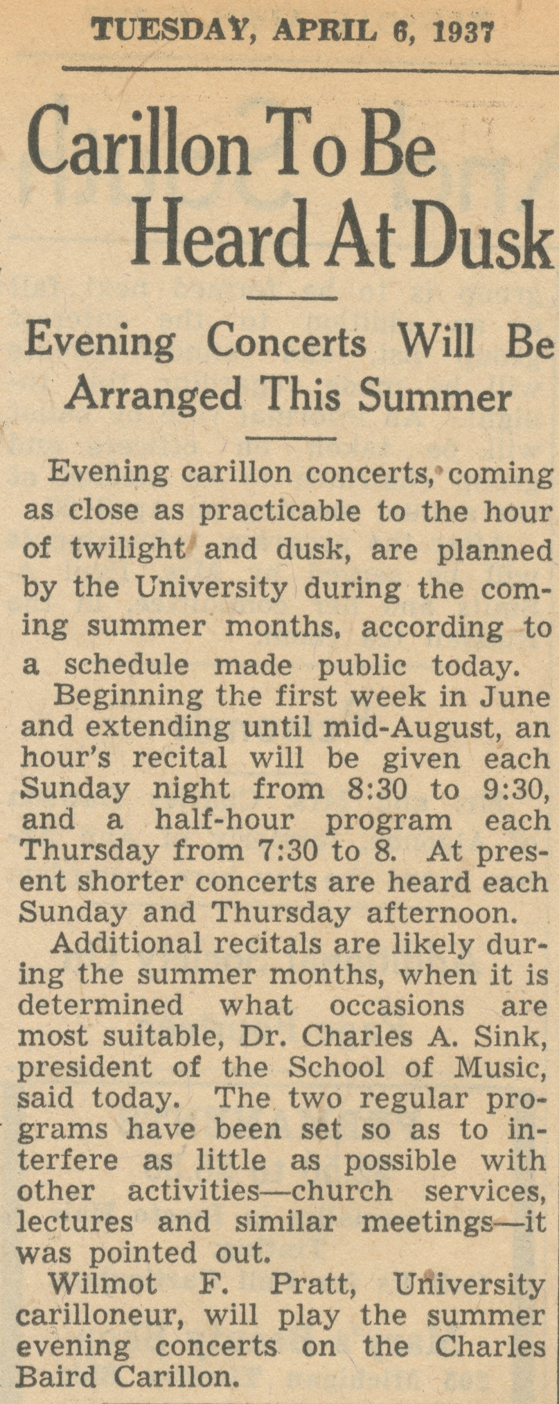 Carillon To Be Heard At Dusk - Evening Concerts Will Be Arranged This Summer image