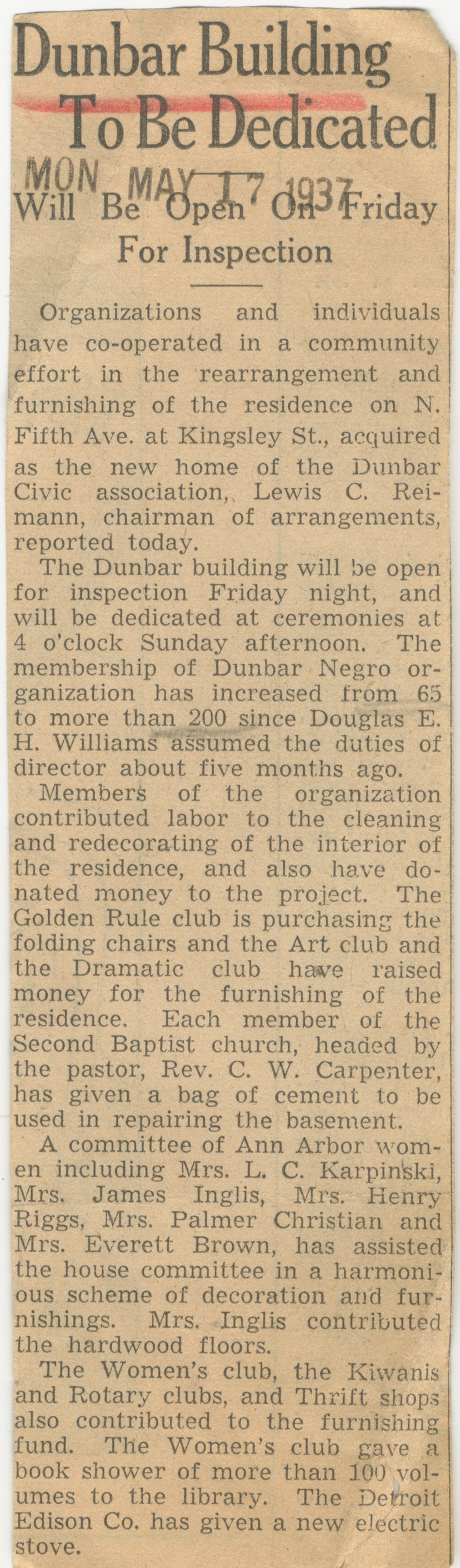 Dunbar Building To Be Dedicated image