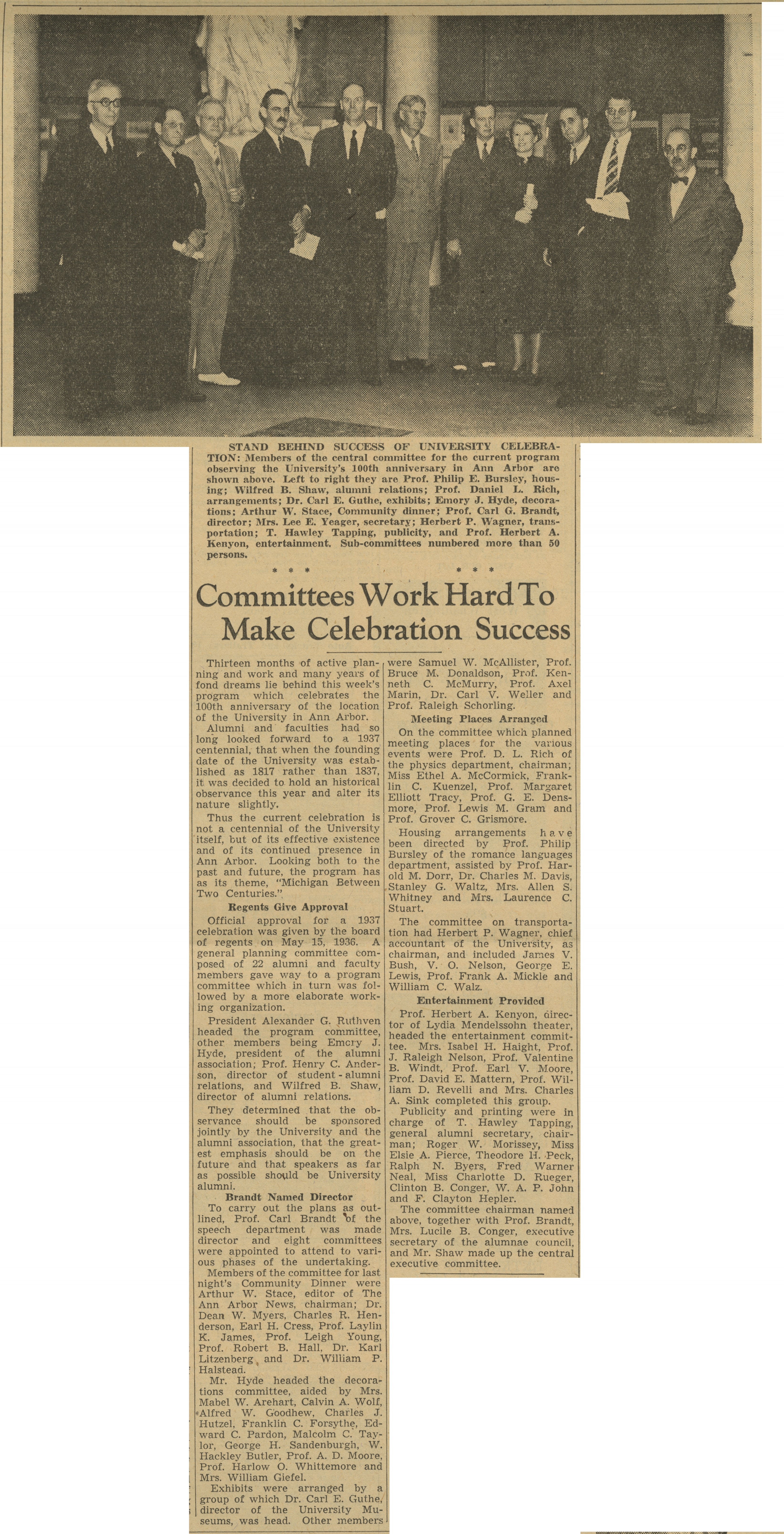 Committees Work Hard to Make Celebration Success, June 1937 image