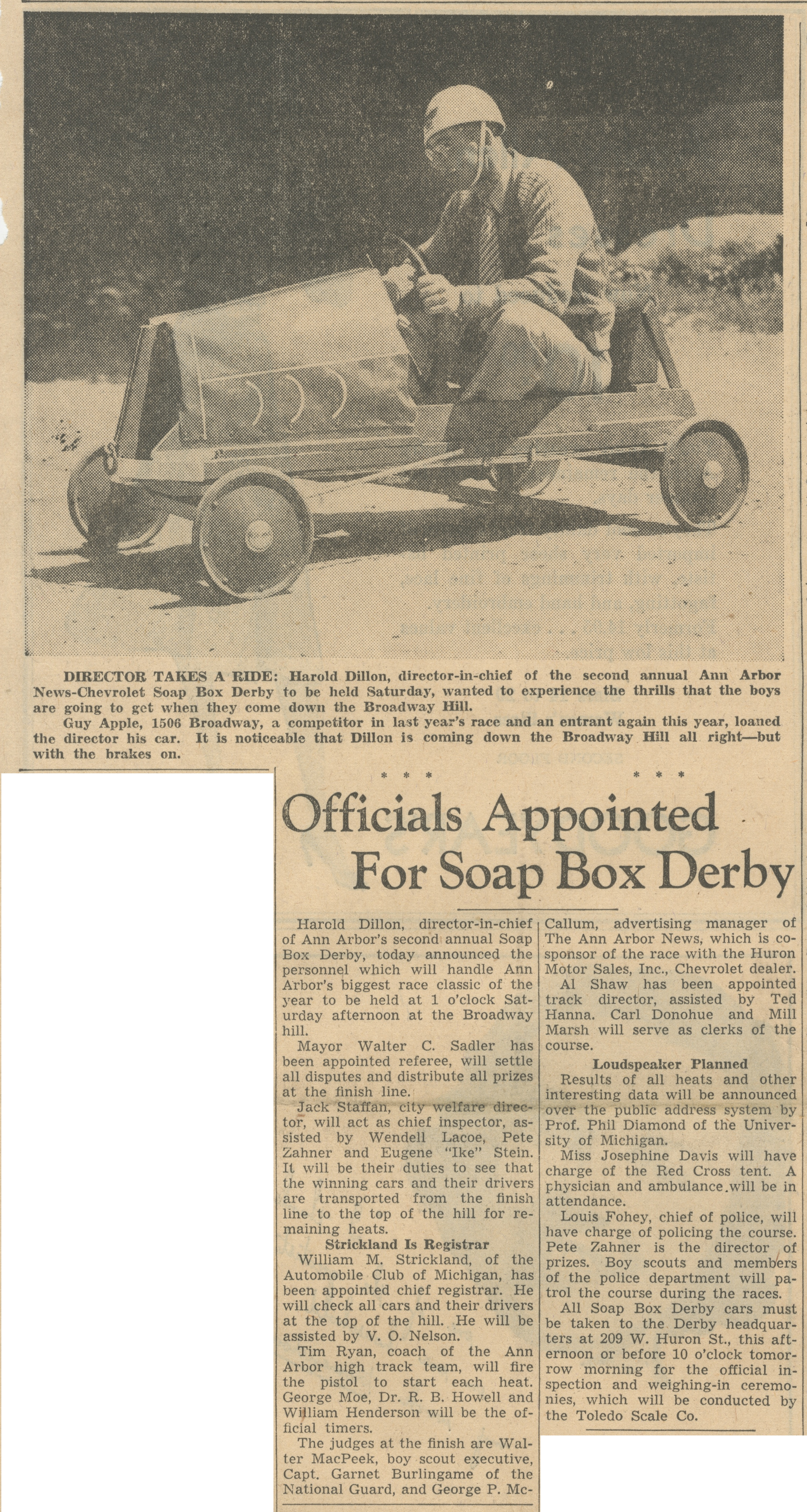Officials Appointed For Soap Box Derby image