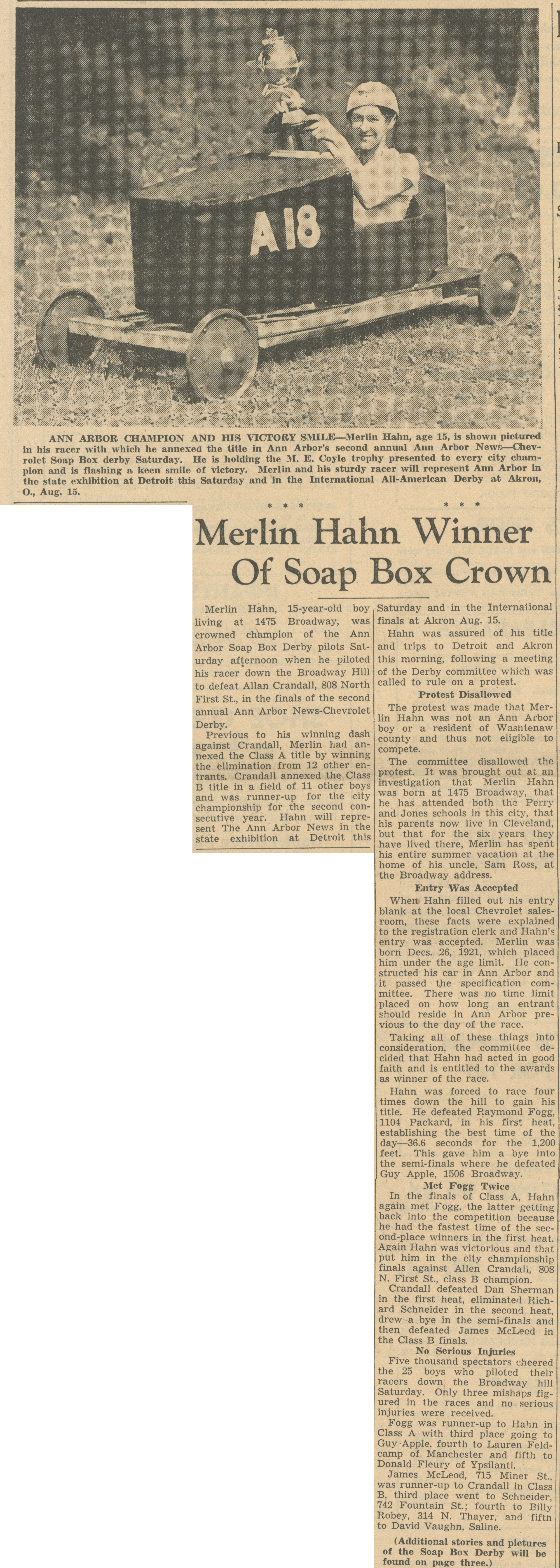 Merlin Hahn Winner Of Soap Box Crown image