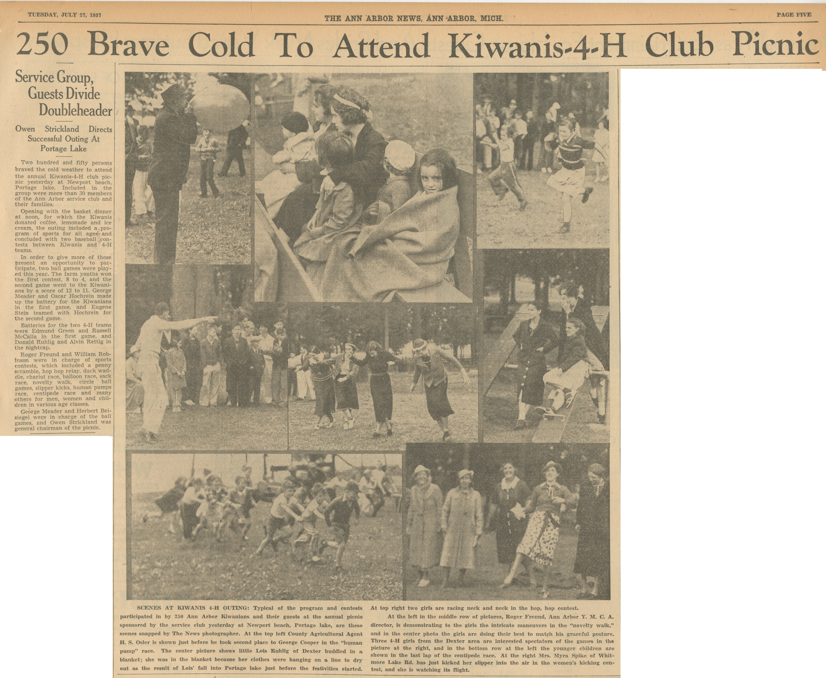 250 Brave Cold To Attend Kiwanis - 4-H Club Picnic image