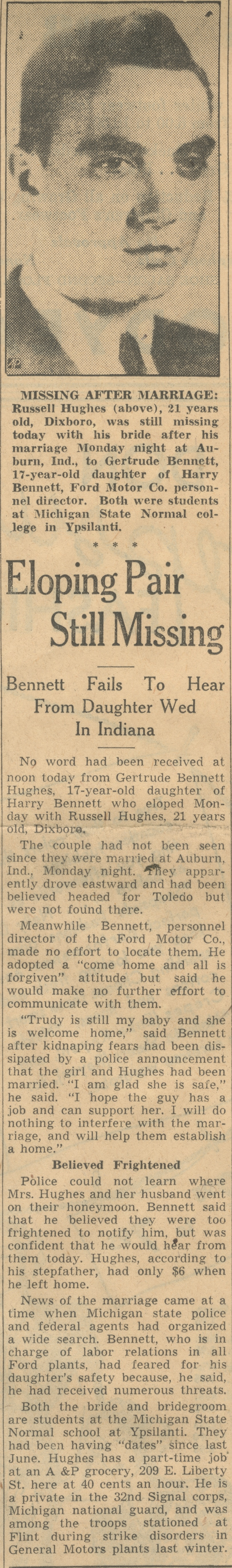 Eloping Pair Still Missing - Bennett Fails To Hear From Daughter Wed In Indiana image