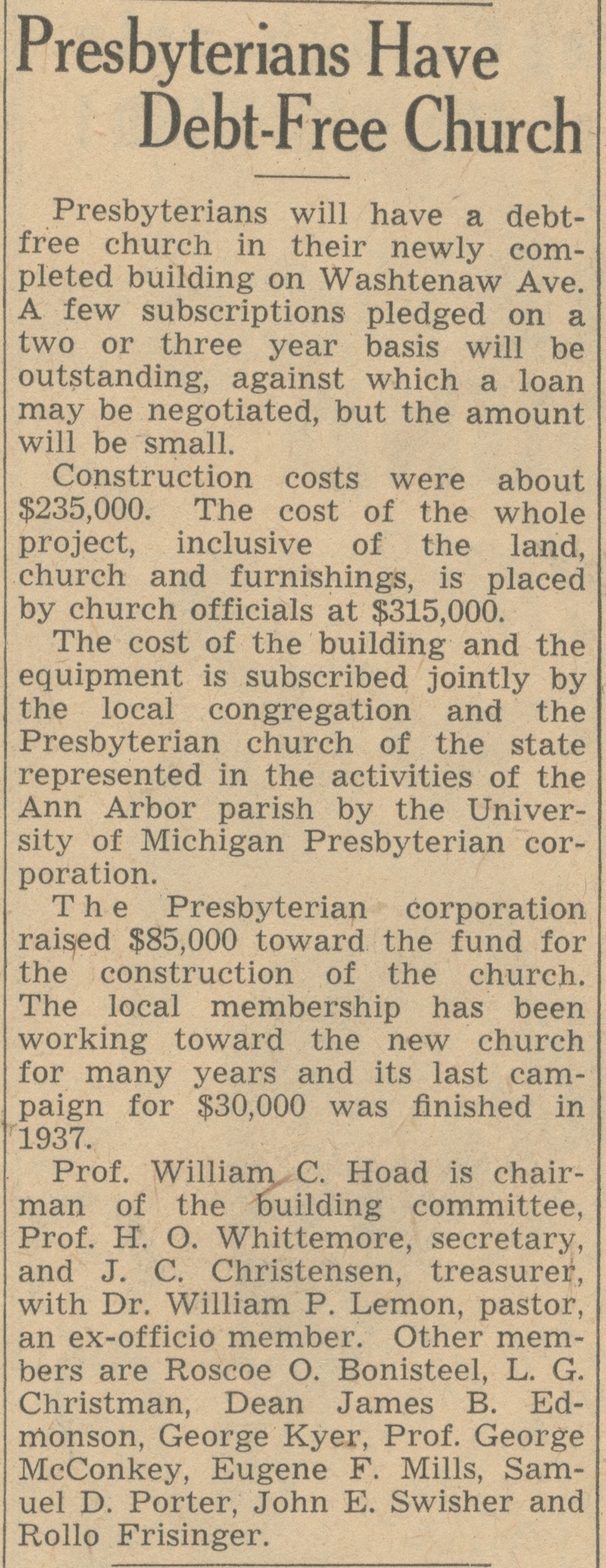 Presbyterians Have Debt-Free Church image