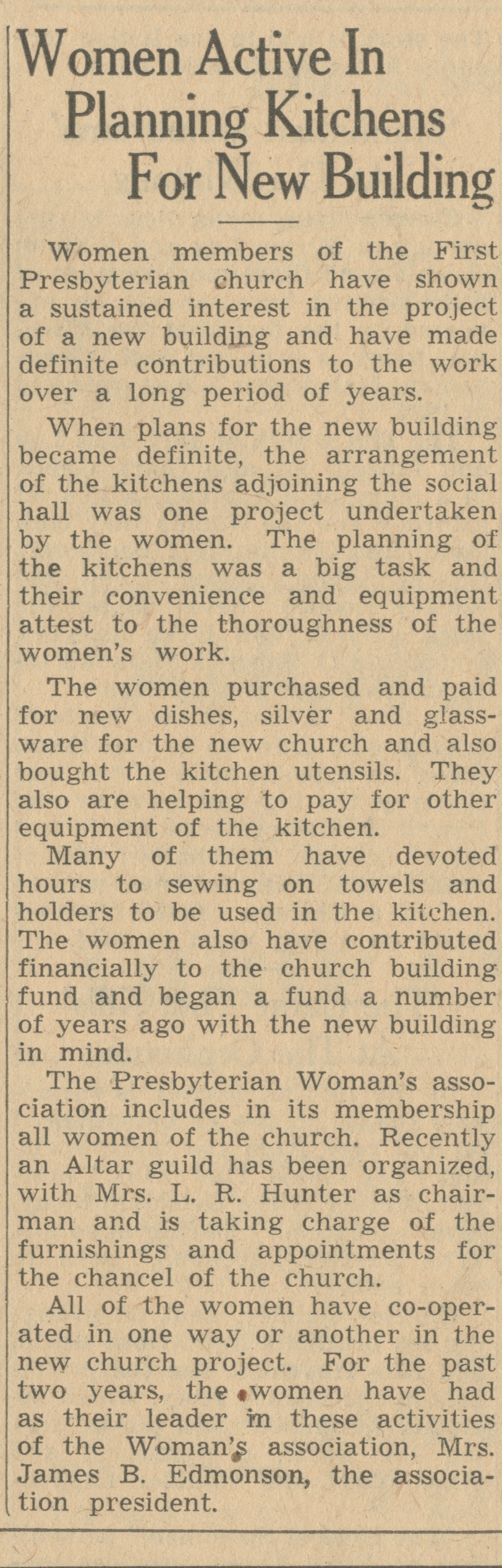 Women Active In Planning Kitchens For New Building image