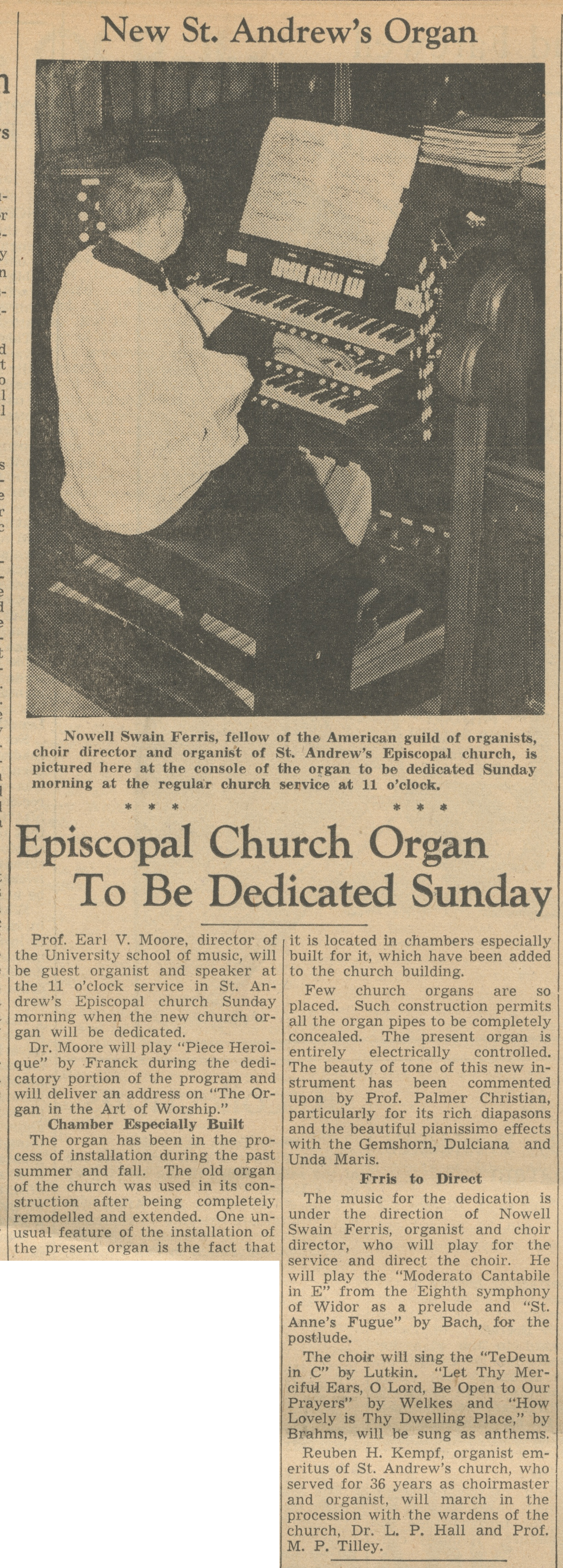 Episcopal Church Organ To Be Dedicated Sunday image