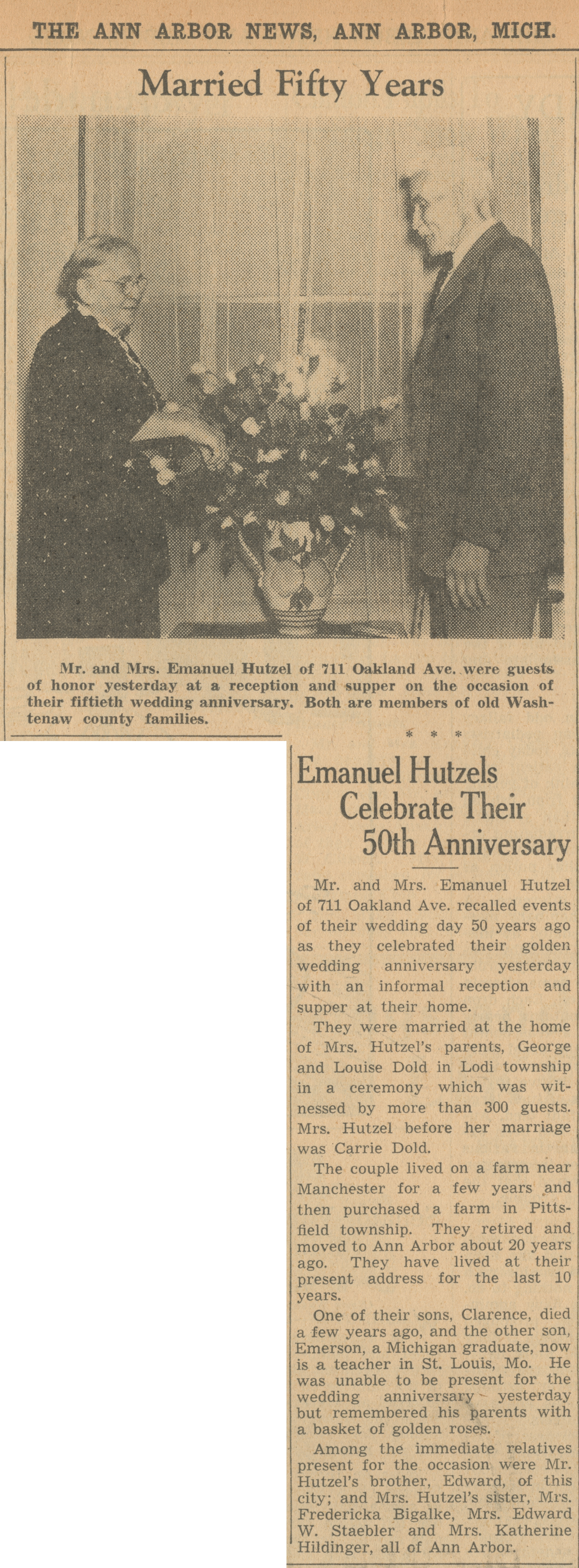 Emanuel Hutzels Celebrate Their 50th Anniversary image