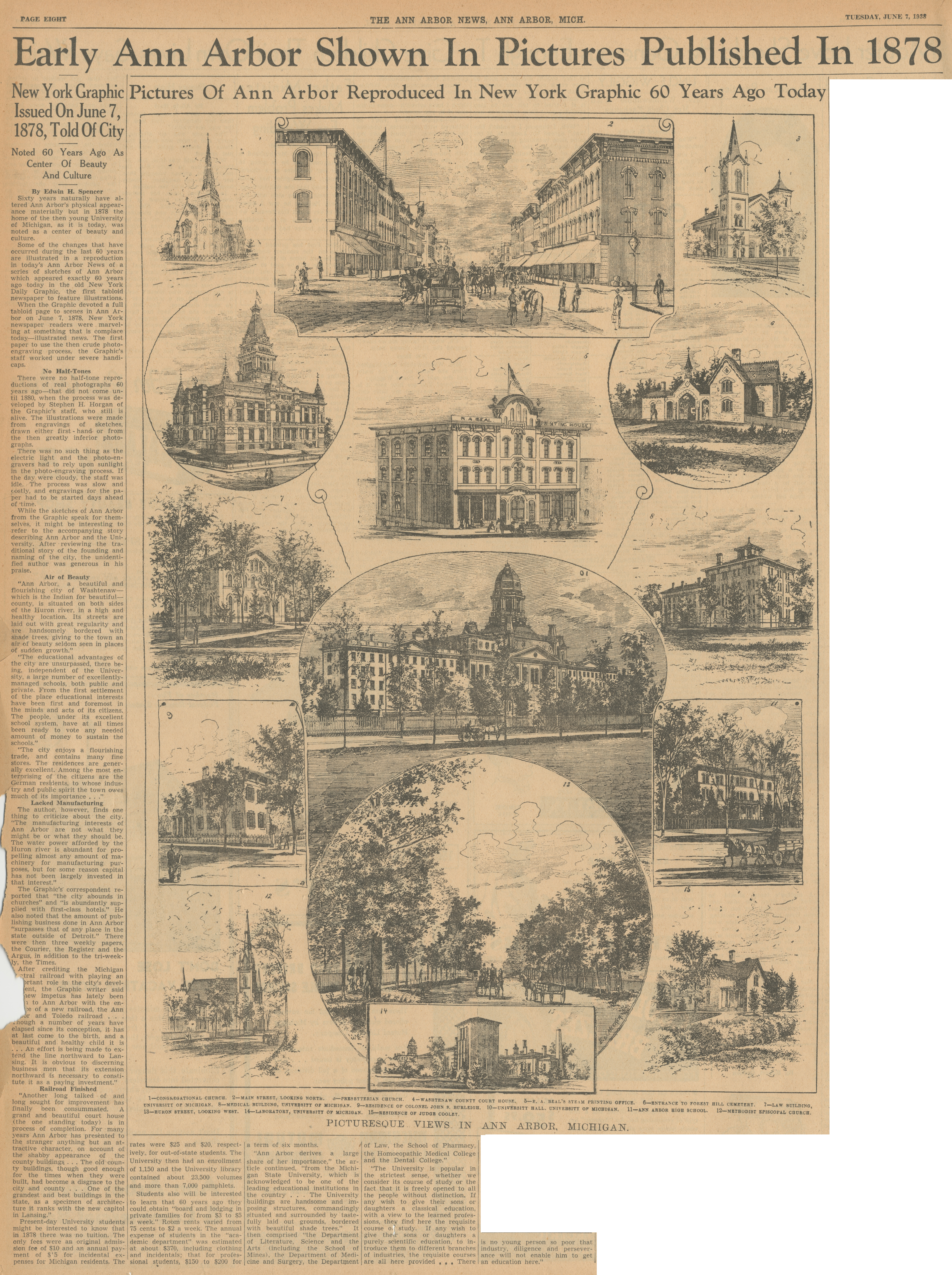 Early Ann Arbor Shown In Pictures Published In 1878 - New York Graphic Issued On June 7, 1878, Told of City - Noted 60 Years Ago As Center of Beauty and Cultures image