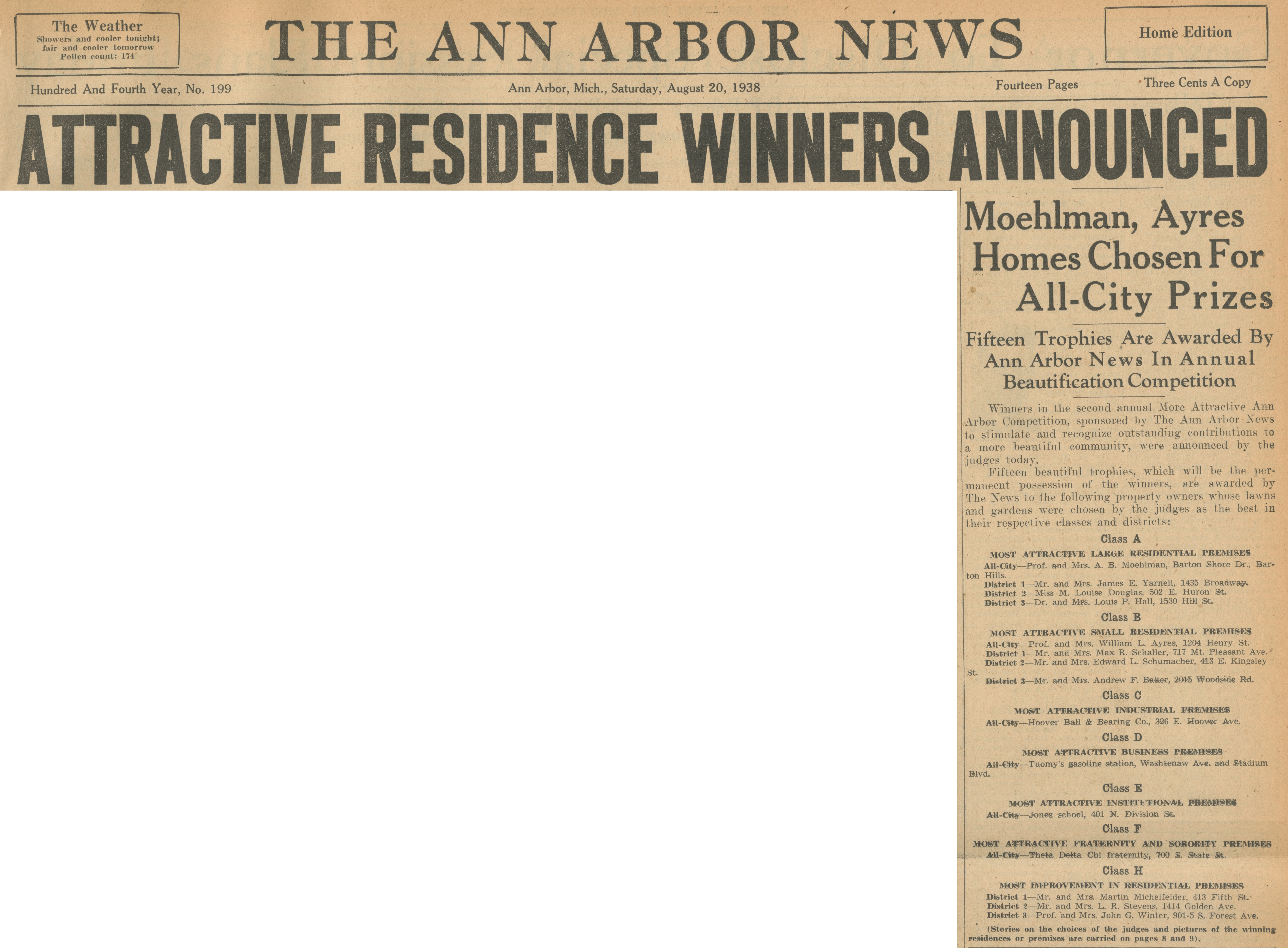 Attractive Residence Winners Announced - Moehlman, Ayers Homes Chosen For All-City Prizes - Fifteen Trophies Are Awarded By Ann Arbor News In Annual Beautification Competition image