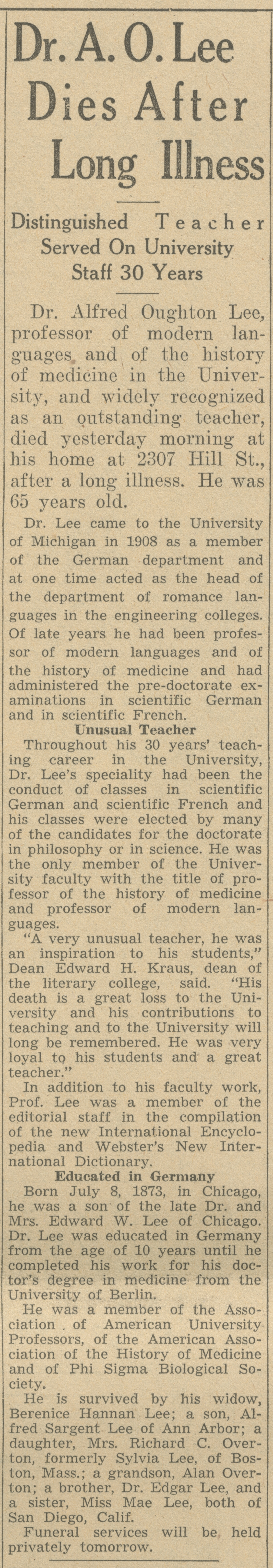 Dr. A. O. Lee Dies After Long Illness image