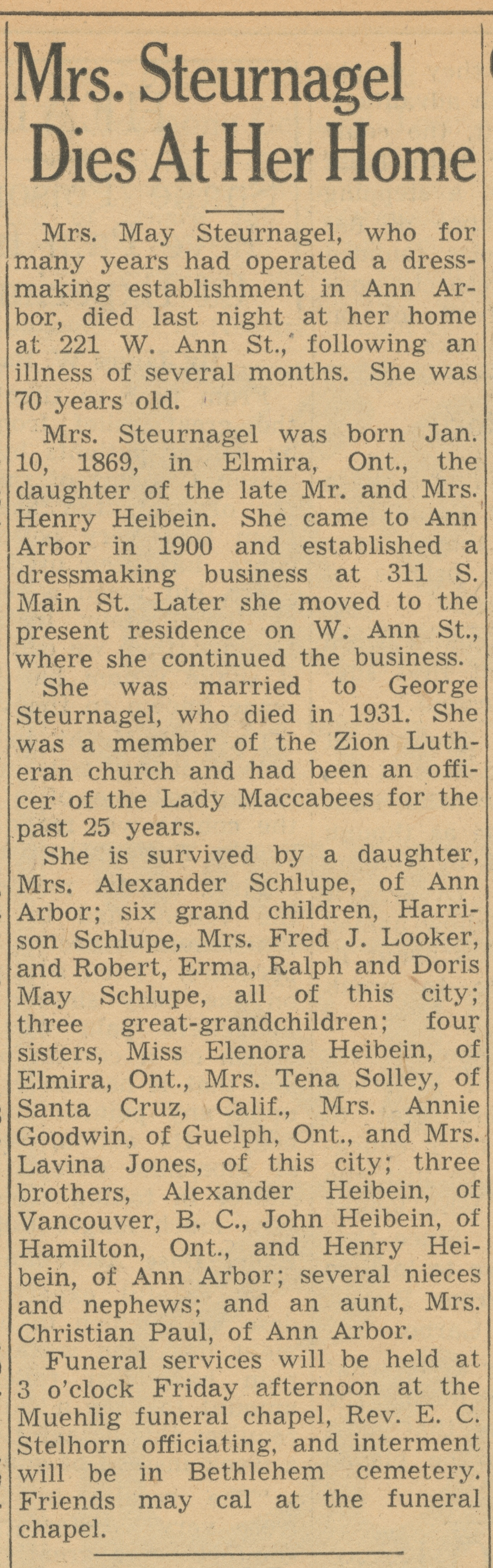 Mrs. Steurnagel Dies At Her Home image