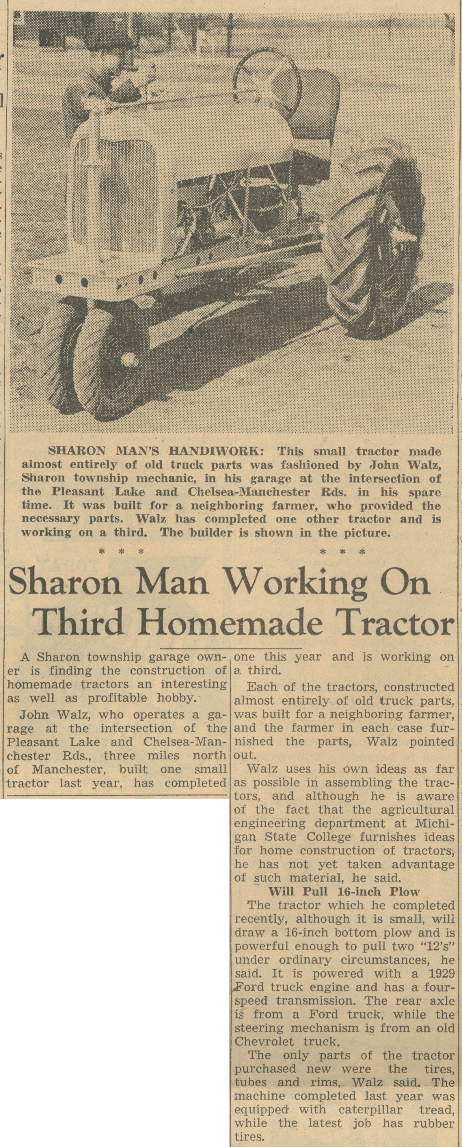 Sharon Man Working On Third Homemade Tractor image
