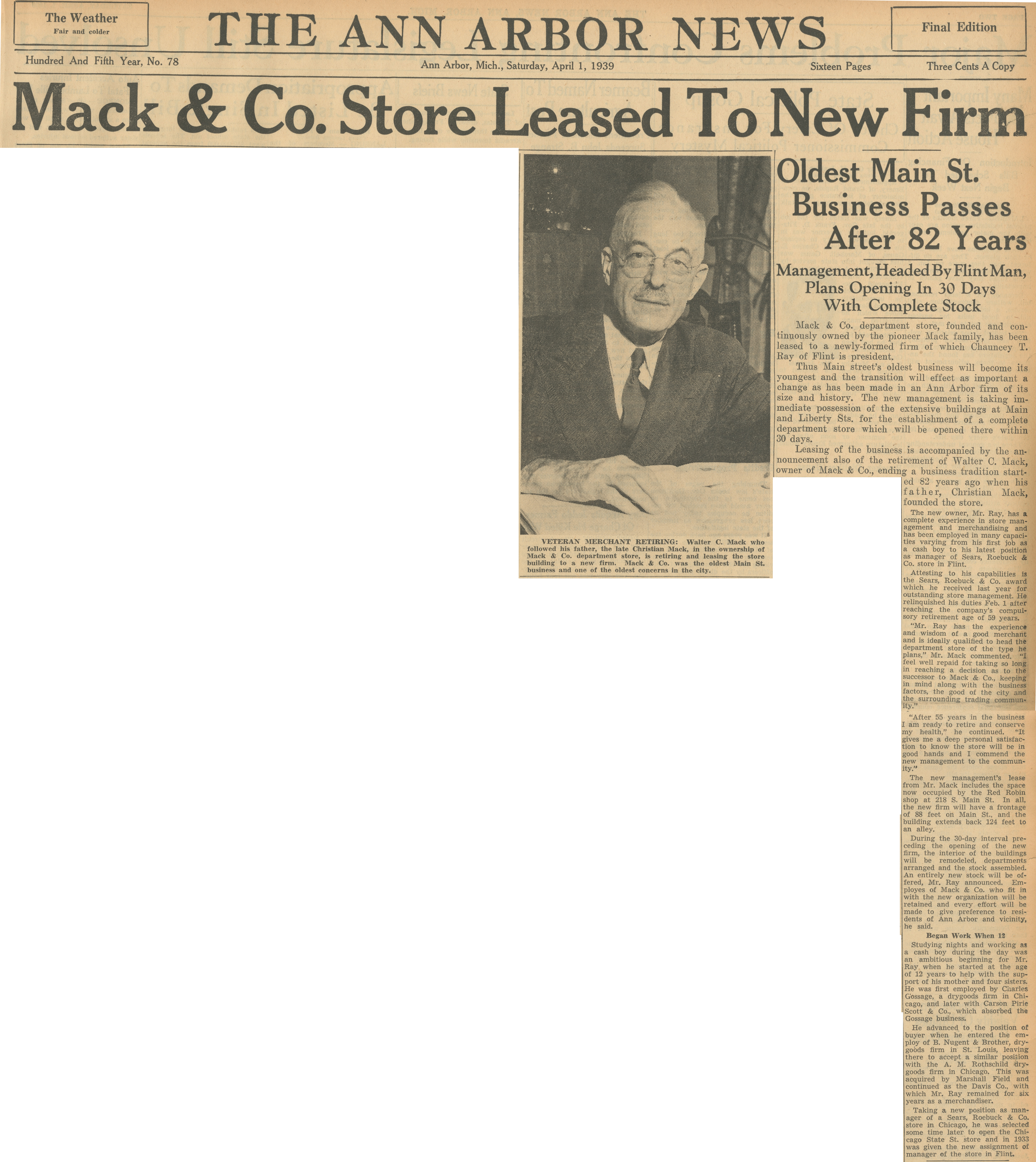Mack & Co. Store Leased To New Firm - Oldest Main St. Business Passes After 82 Years image