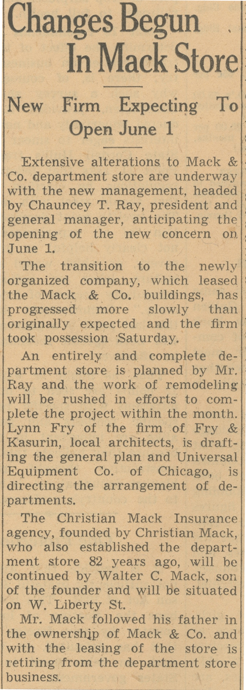 Changes Begun In Mack Store - New Firm Expecting To Open June 1 image