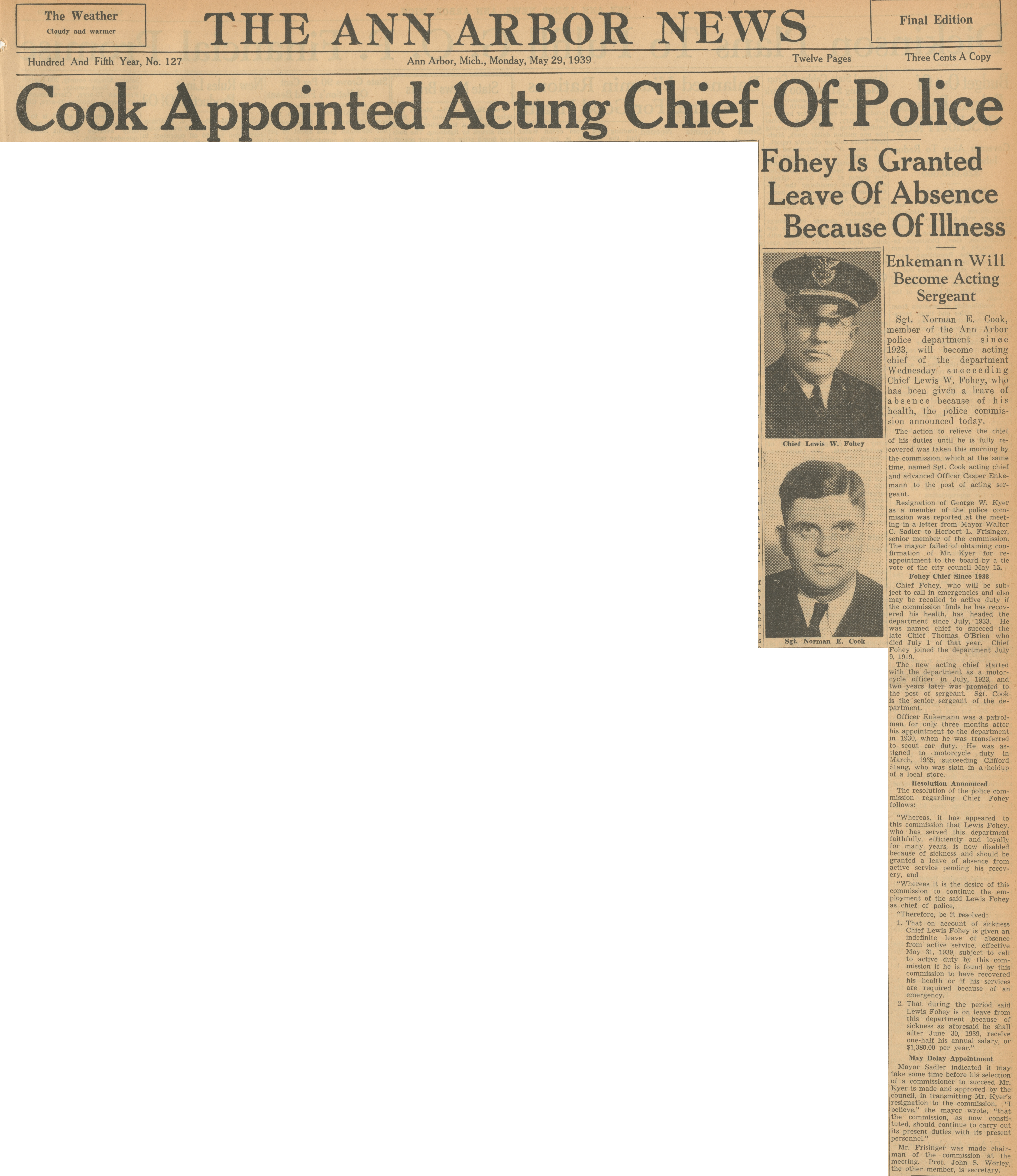 Cook Appointed Acting Chief Of Police - Fohey Is Granted Leave of Absence Because of Illness image