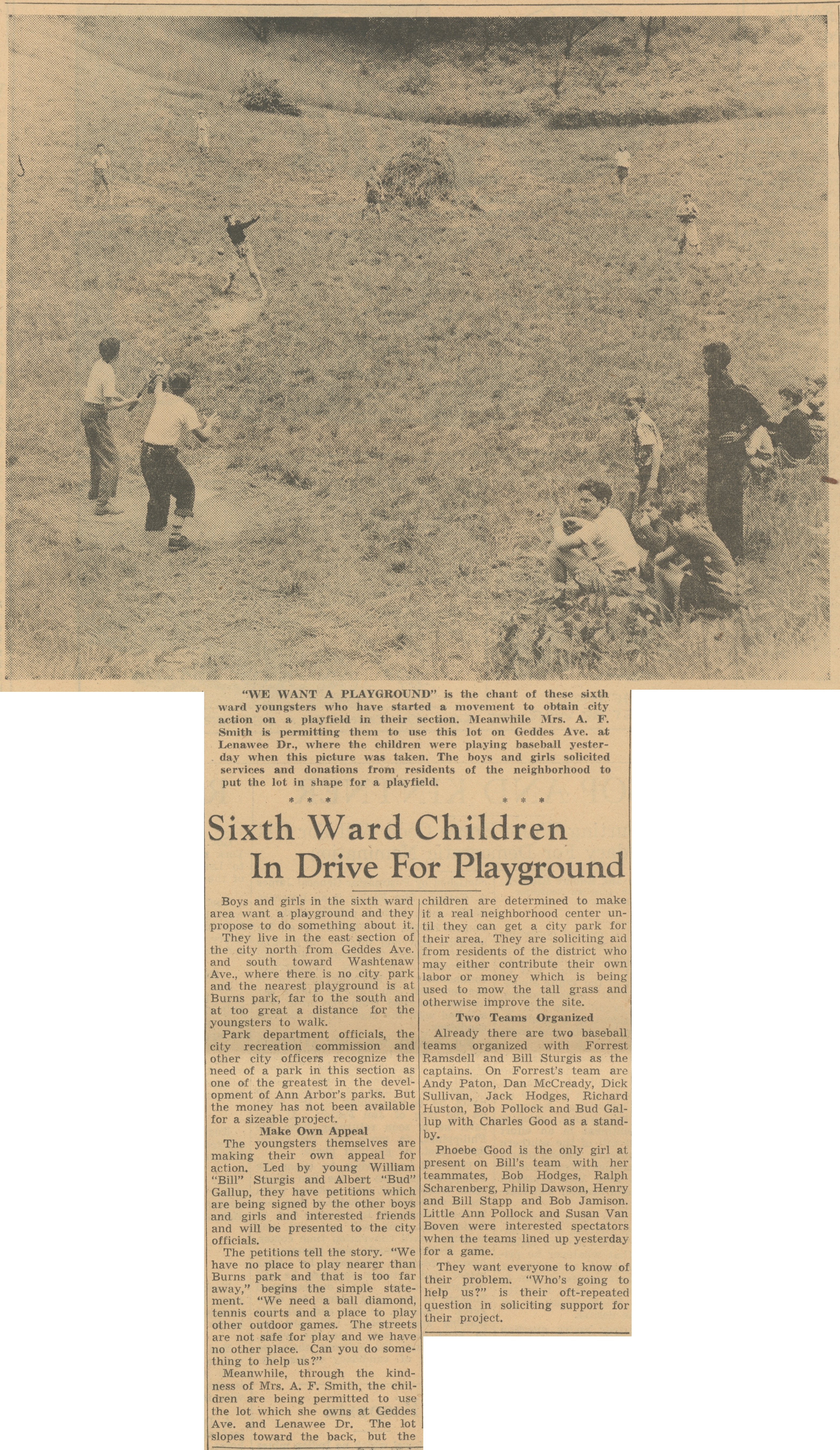 Sixth Ward Children In Drive For Playground image