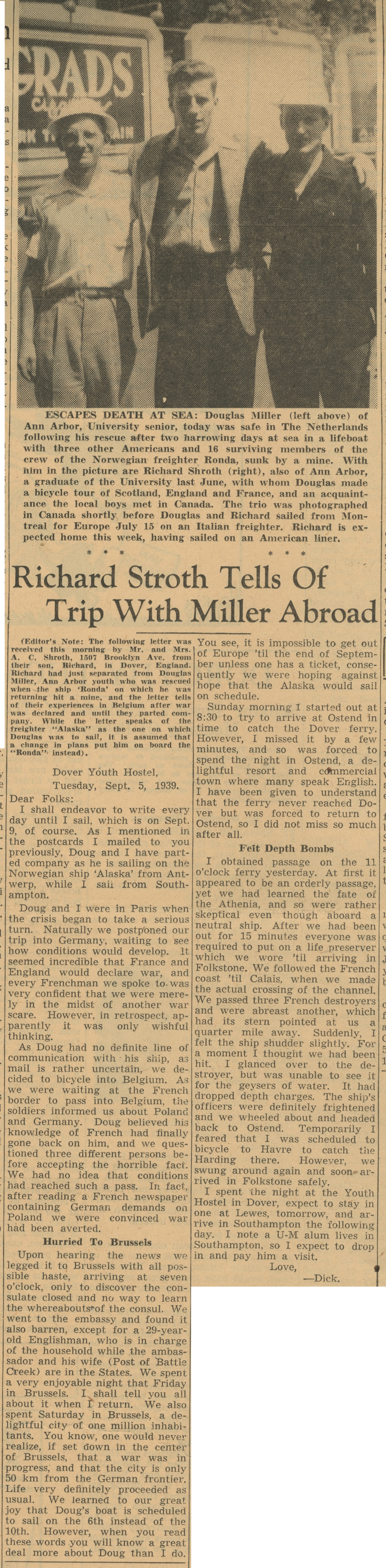 Escapes Death At Sea:  Richard Stroth Tells of Trip With Miller Abroad image
