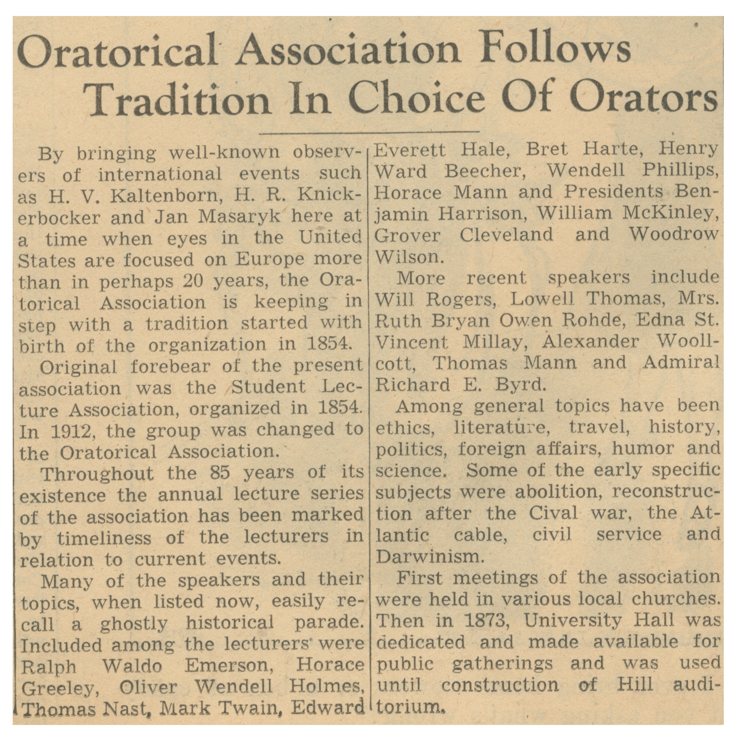 Oratorical Association Follows Tradition In Choice Of Orators image