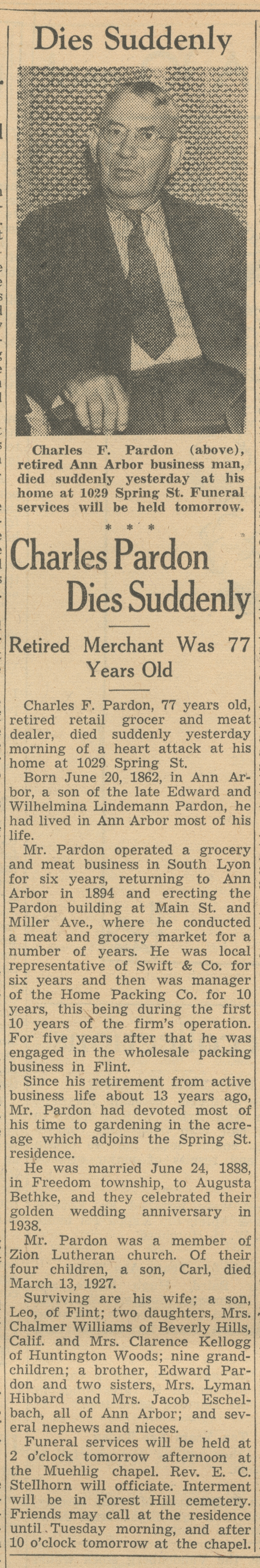 Charles Pardon Dies Suddenly image