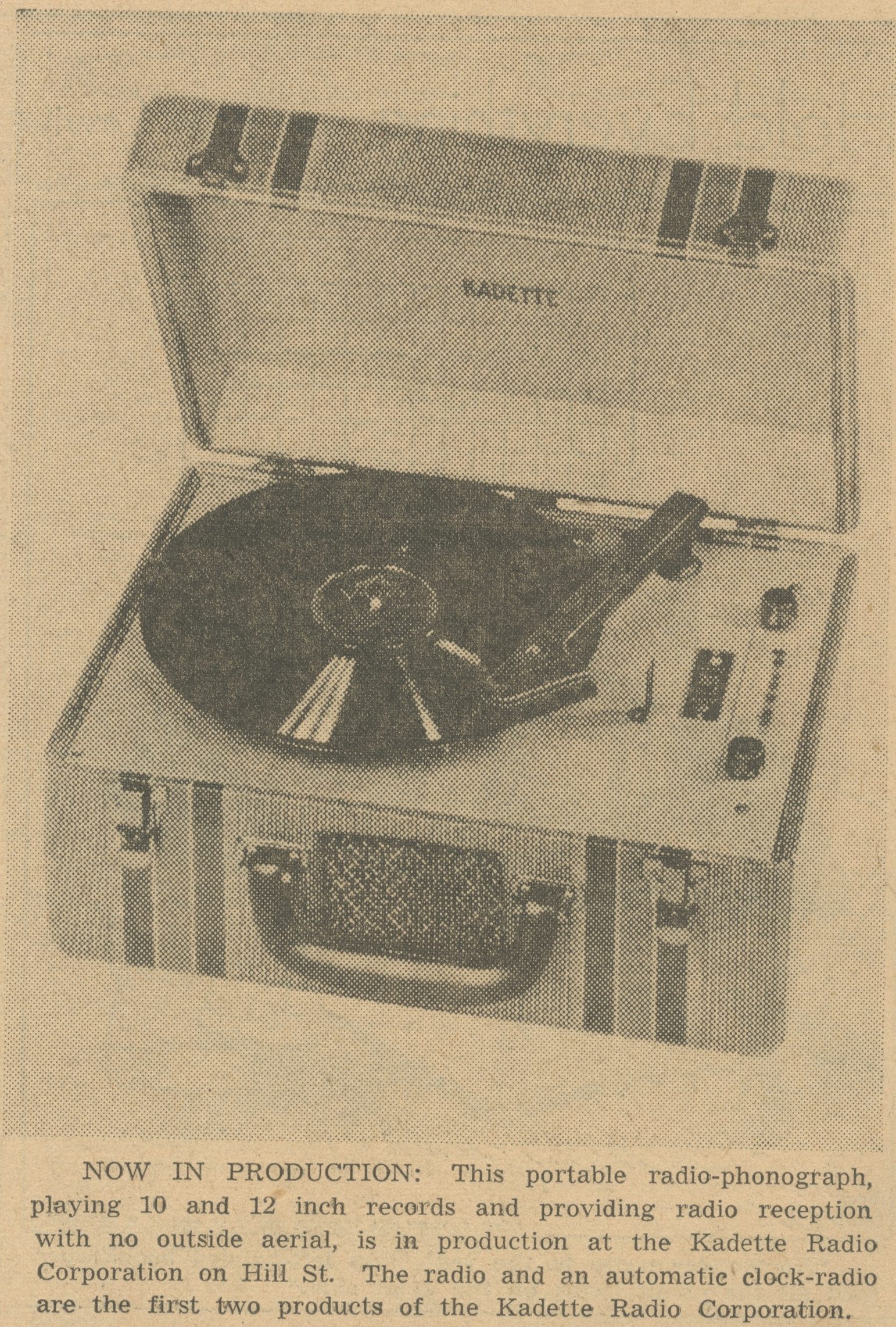 New Kadette Firm Begins Production -- Radio - Phonograph And Autime Clock Radio Placed On Market image
