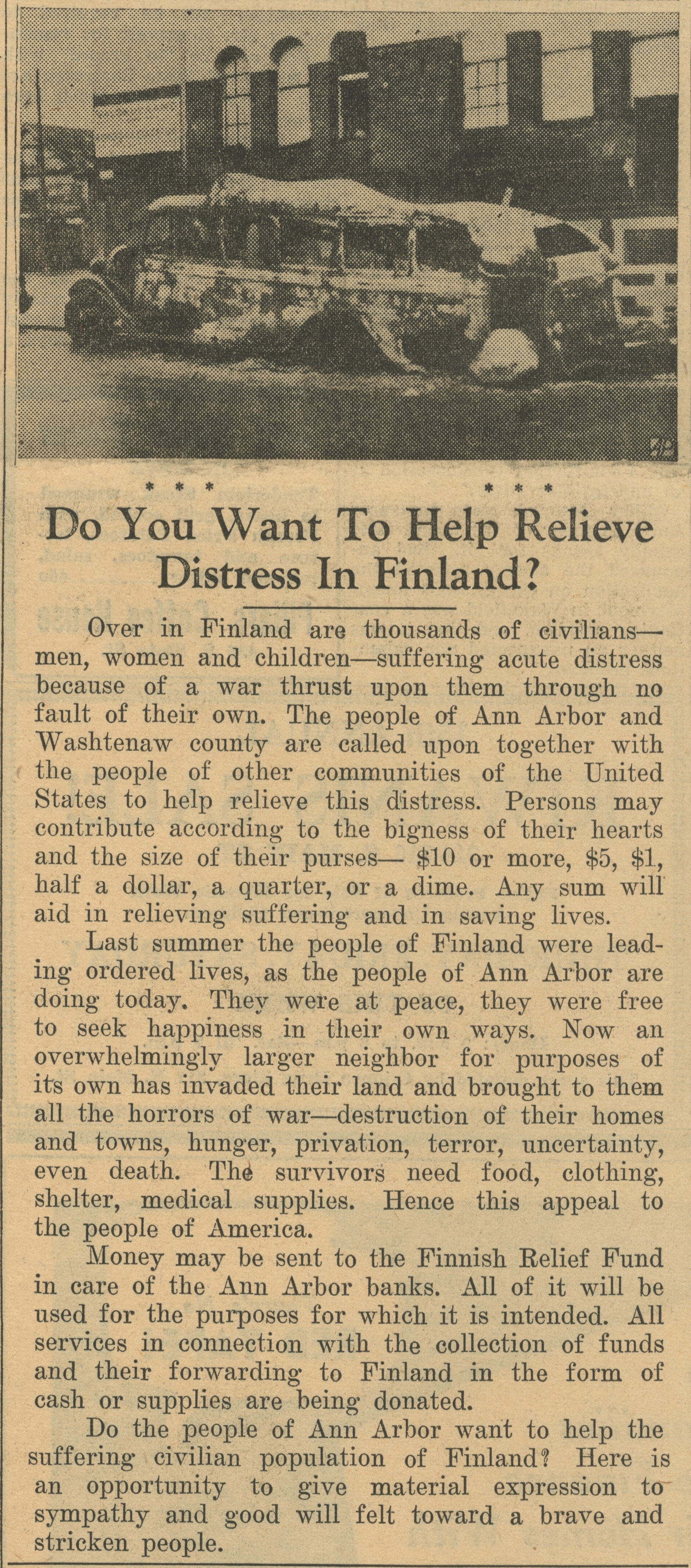 Do You Want To Help Relieve Distress In Finland? image
