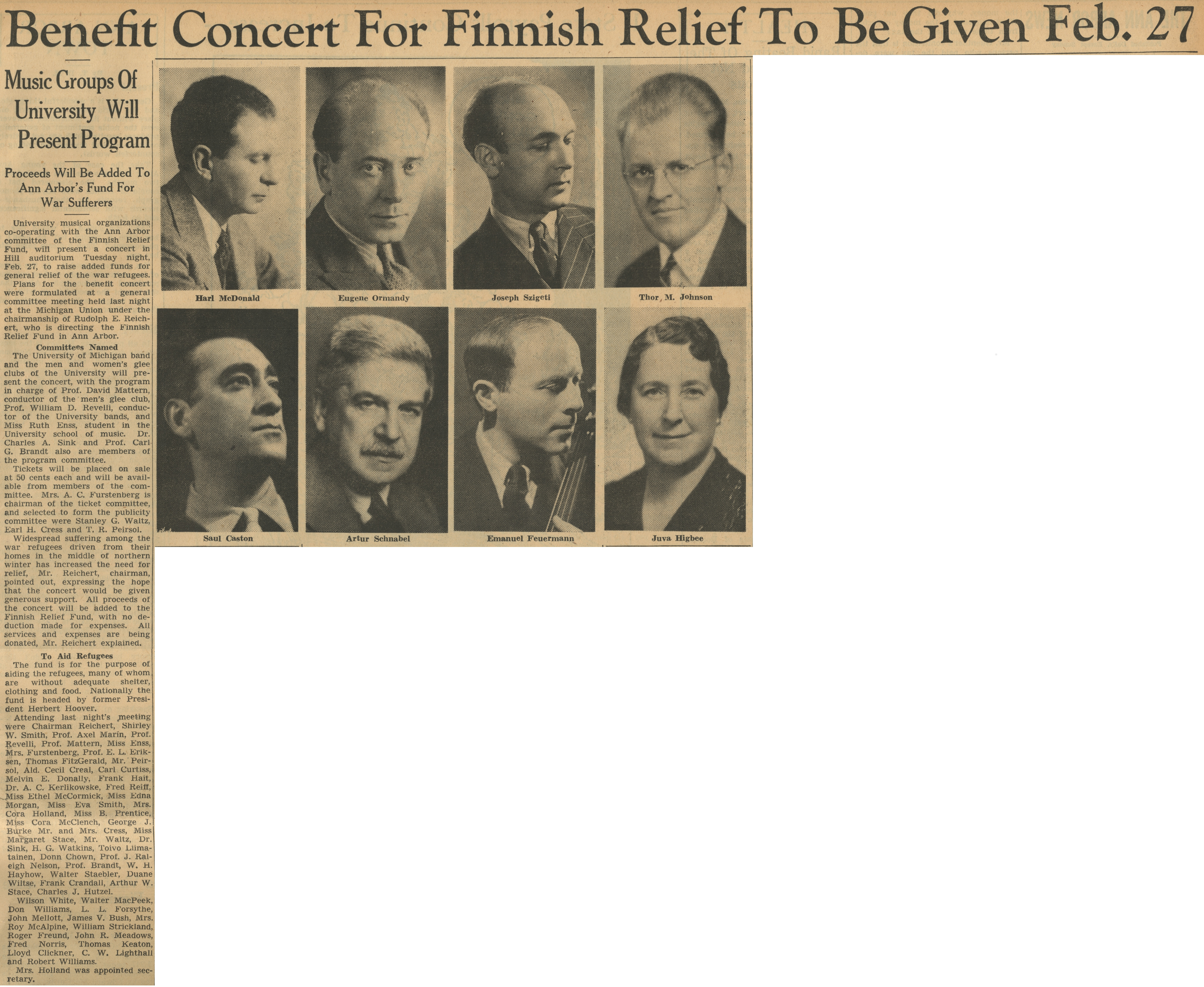 Benefit Concert For Finnish Relief To Be Given Feb. 27: Music Groups of University Will Present Program; Proceeds Will Be Added To Ann Arbor's Fund For War Sufferers image