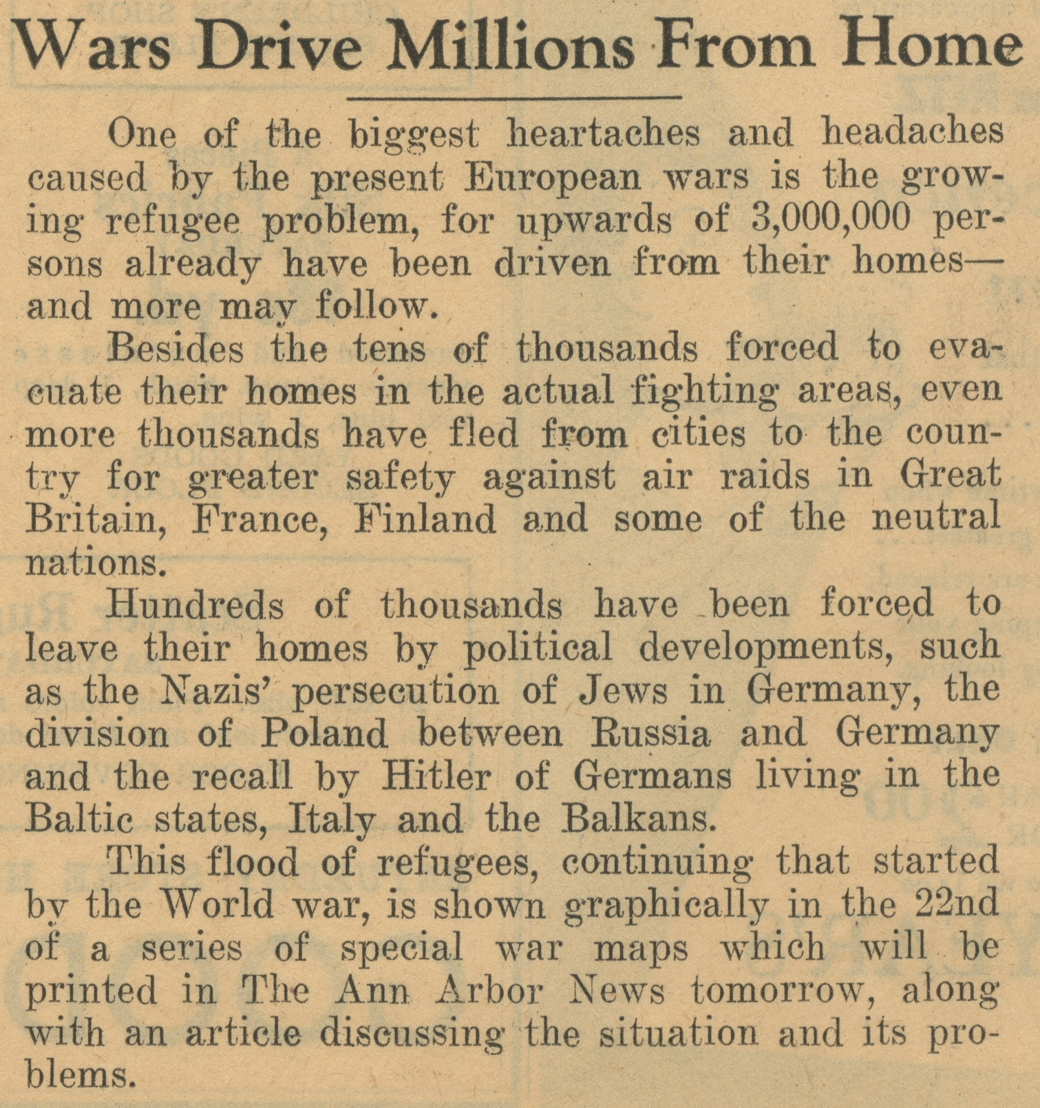 Wars Drive Millions From Home image