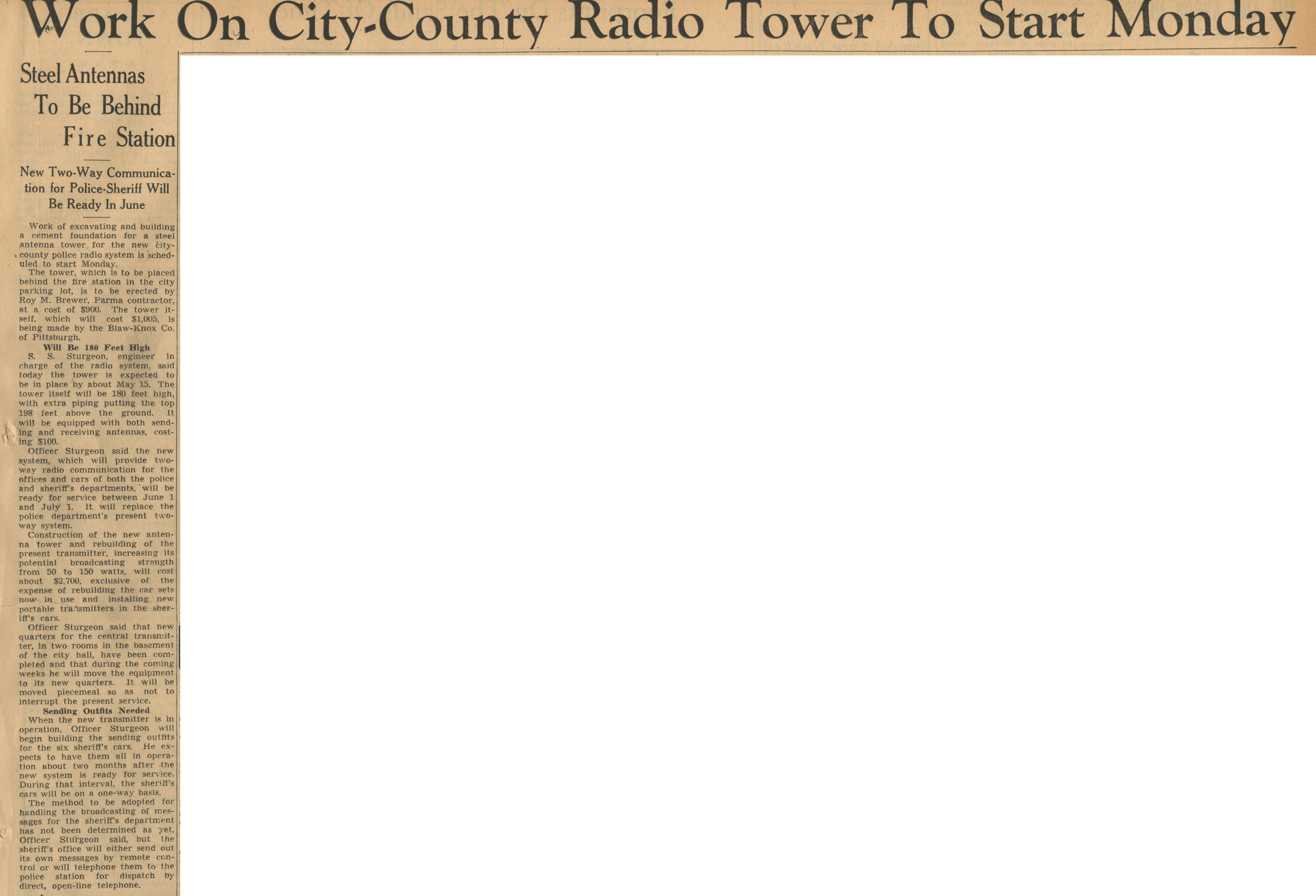 Work On City-County Radio Tower To Start Monday image