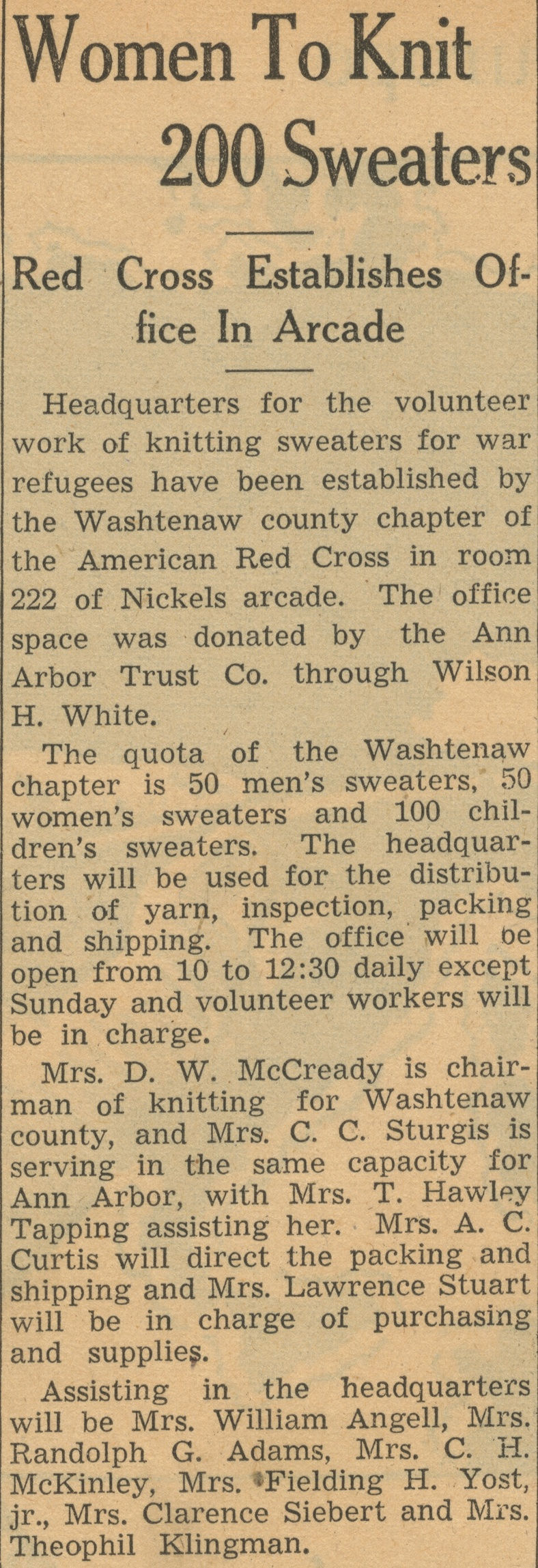 Women To Knit 200 Sweaters: Red Cross Establishes Office In Arcade image