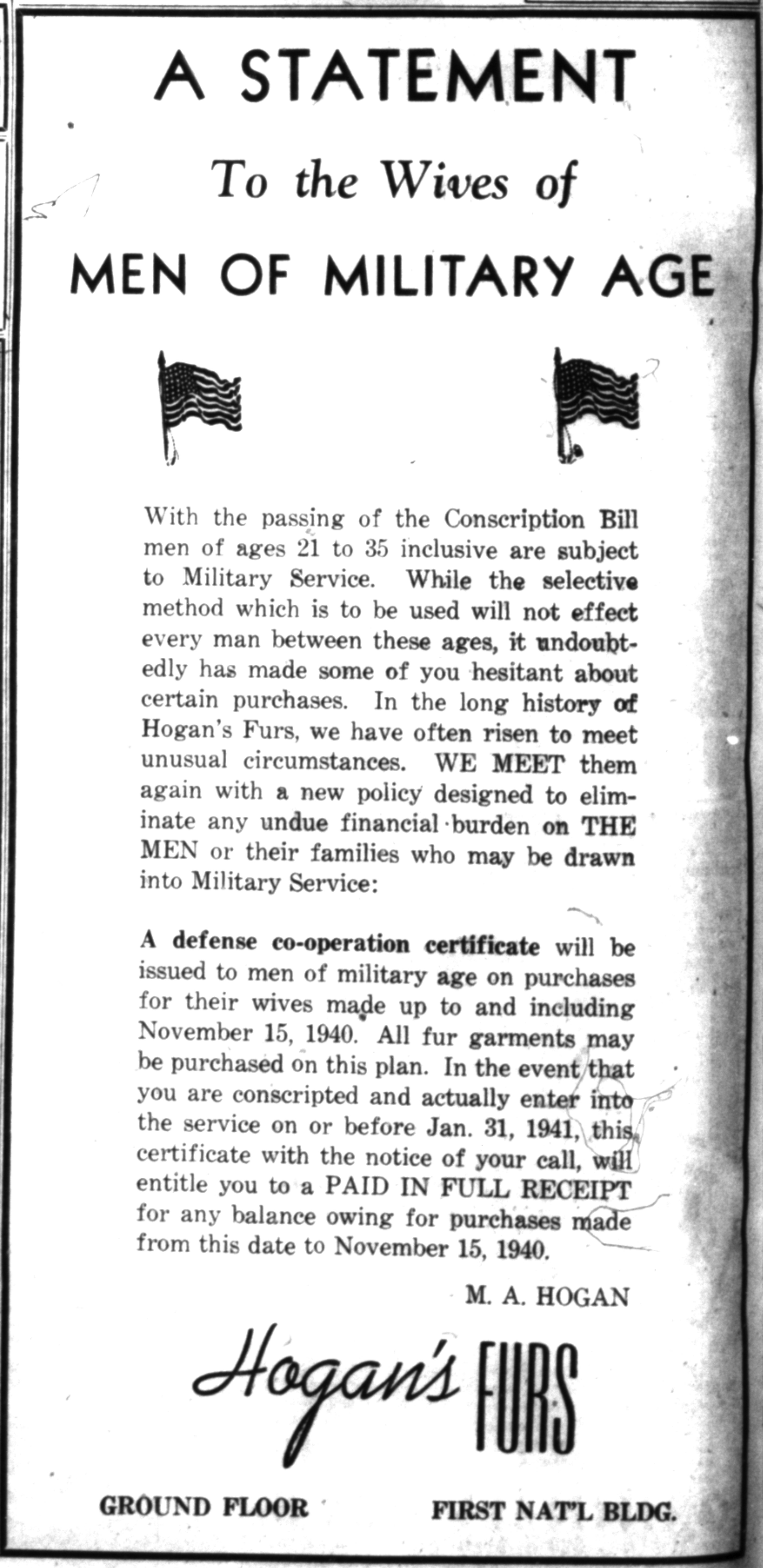 A Statement To The Wives of Men of Military Age image