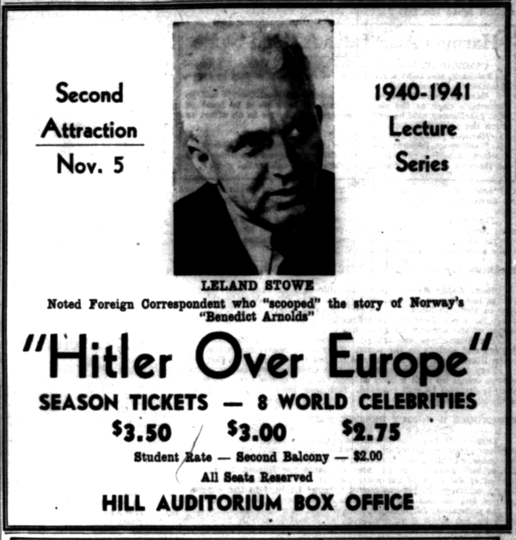 "Hitler Over Europe: Leland Stowe Noted Foreign Correspondent Who ""Scooped"" The Story of Norway's ""Benedict Arnolds"" image"