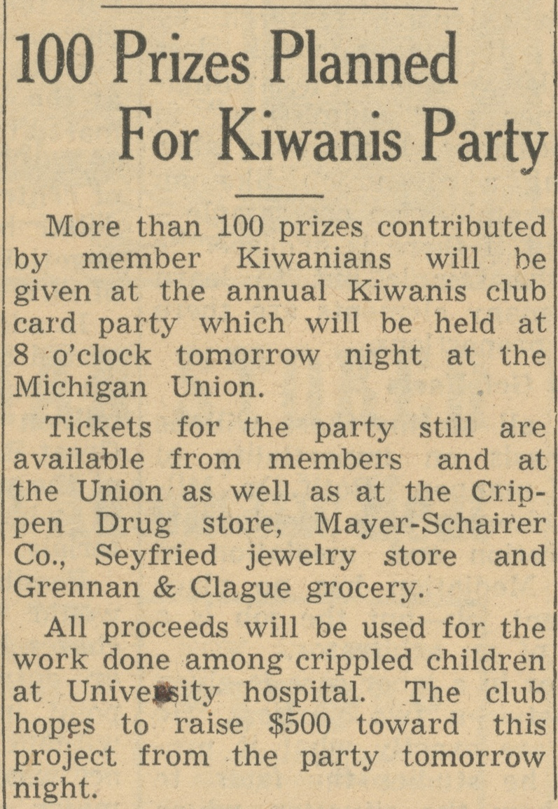 100 Prizes Planned For Kiwanis Party image