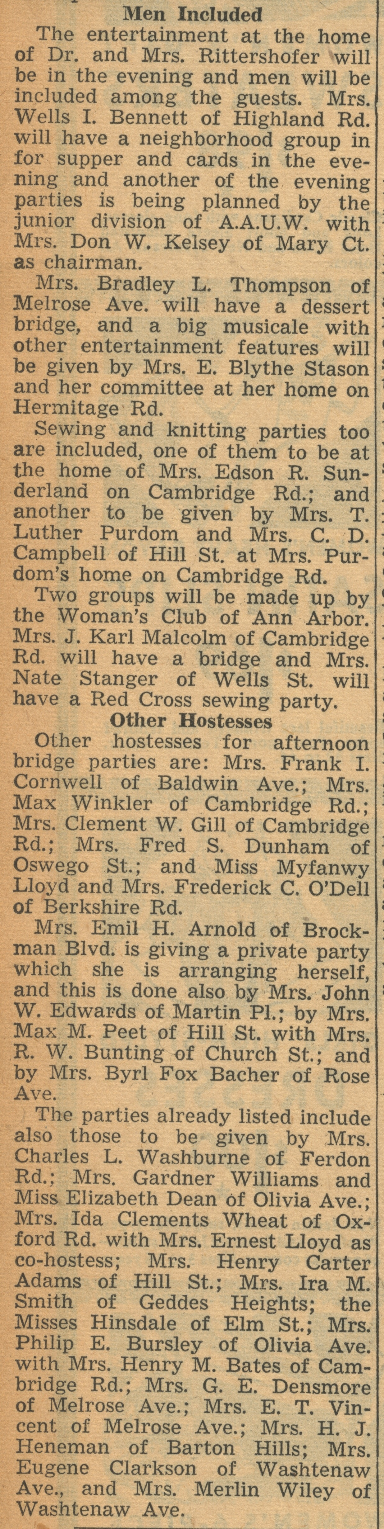 More Than 40 Parties Arranged For January 22 To Raise Funds For British War Relief: Mrs. Reeves Acts As General Chairman image