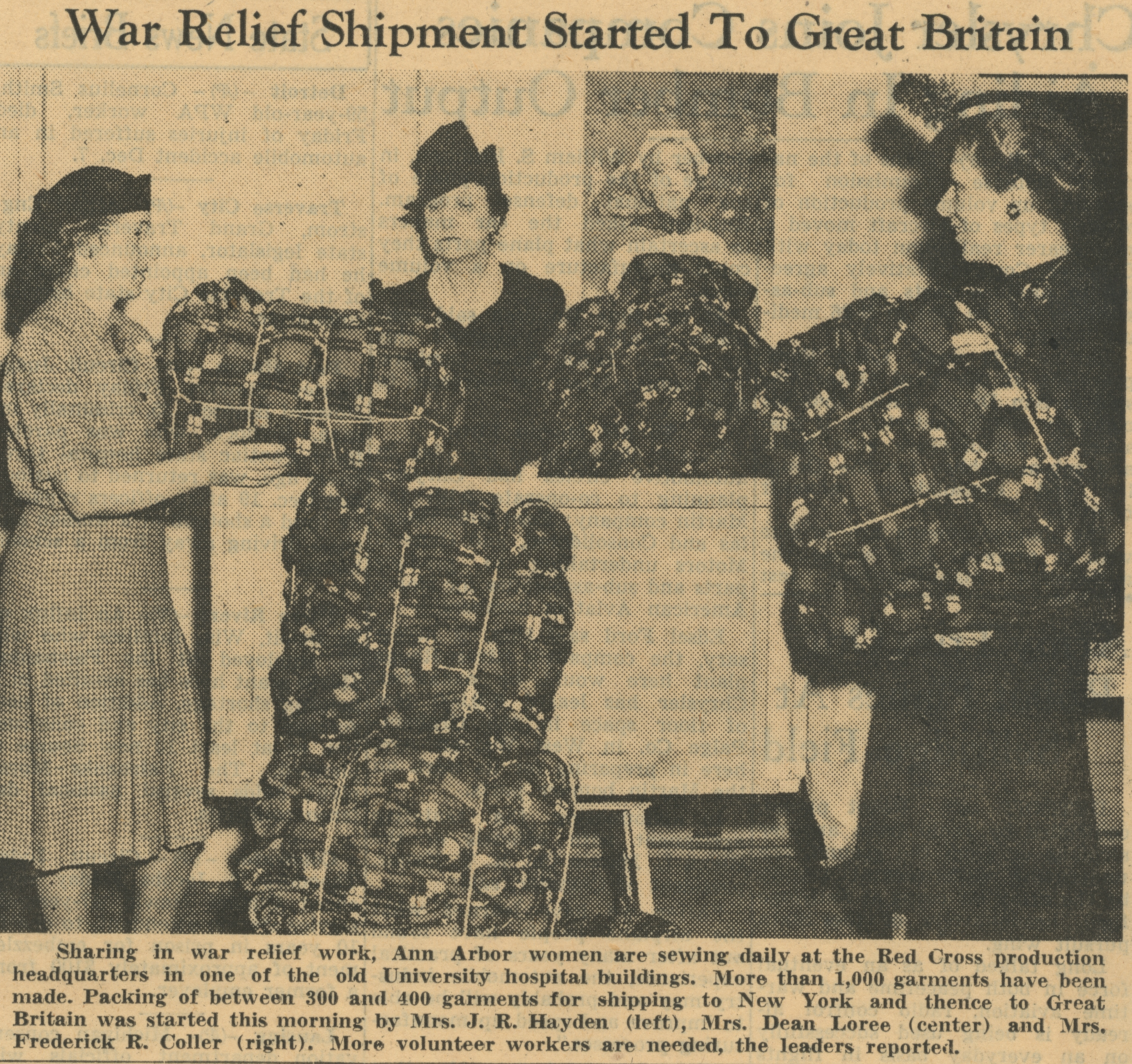 War Relief Shipment Started To Great Britain image