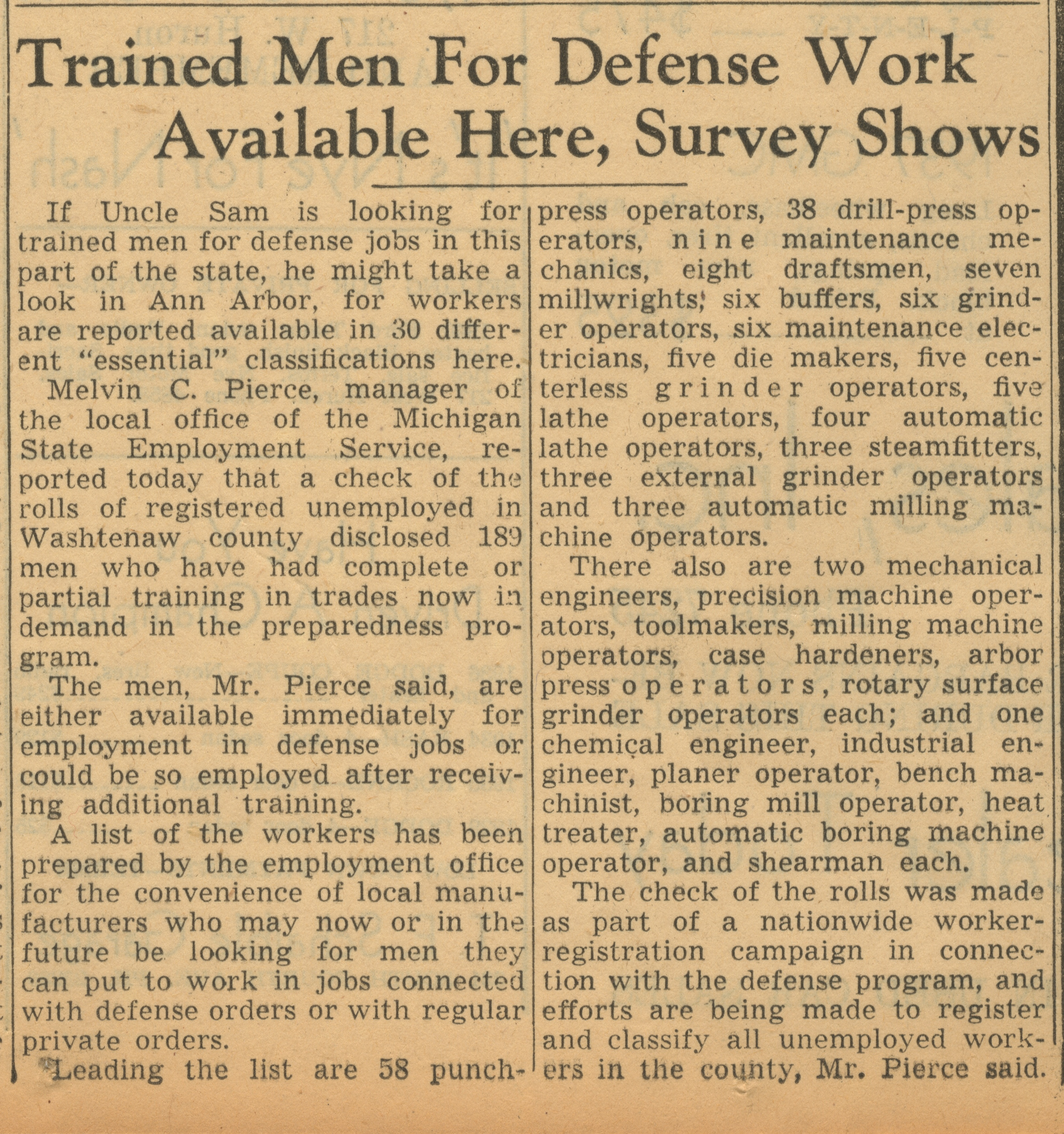 Trained Men For Defense Work Available Here, Survey Shows image