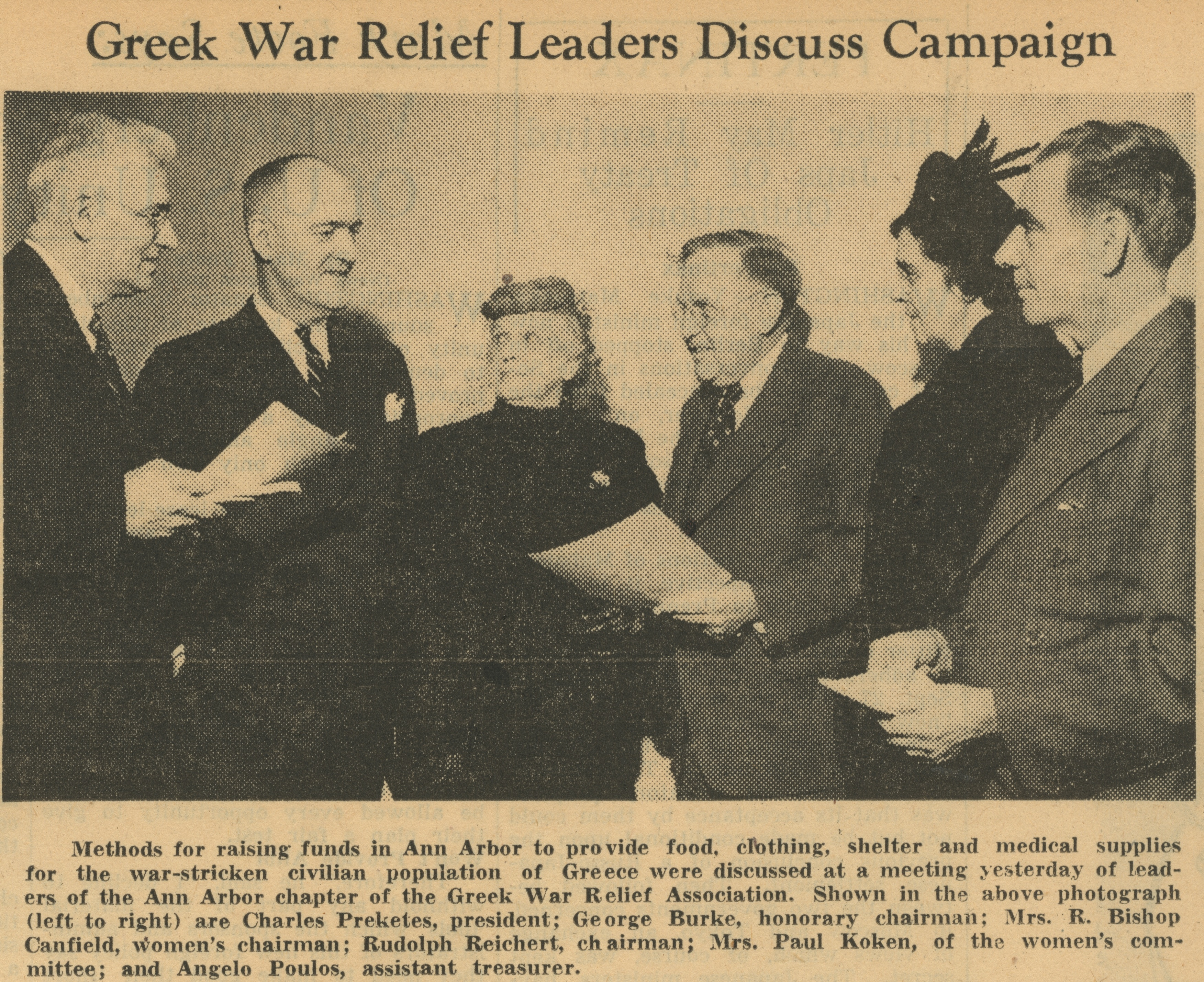 Greek War Relief Leaders Discuss Campaign image