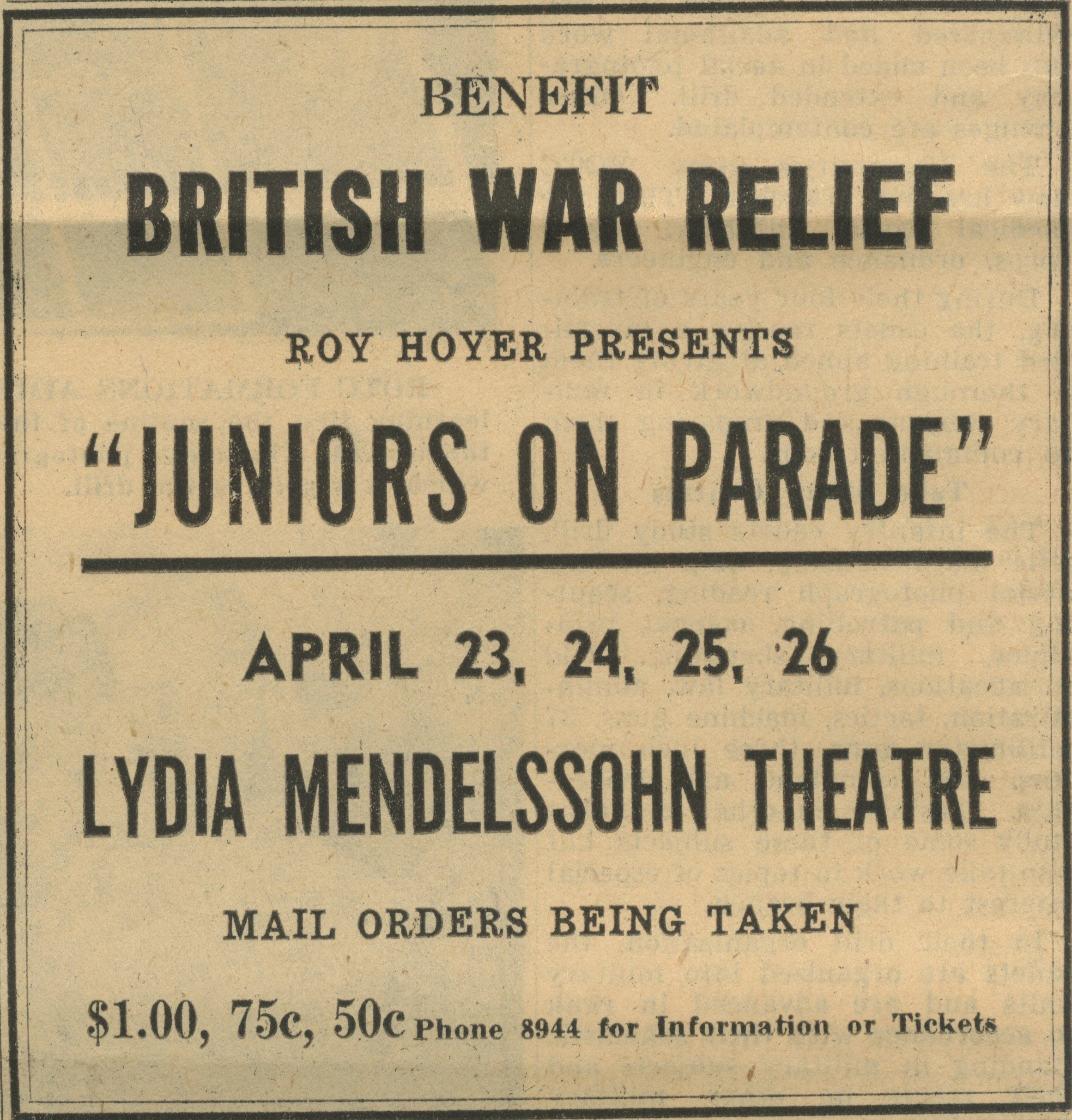 Benefit British War Relief Juniors On Parade image